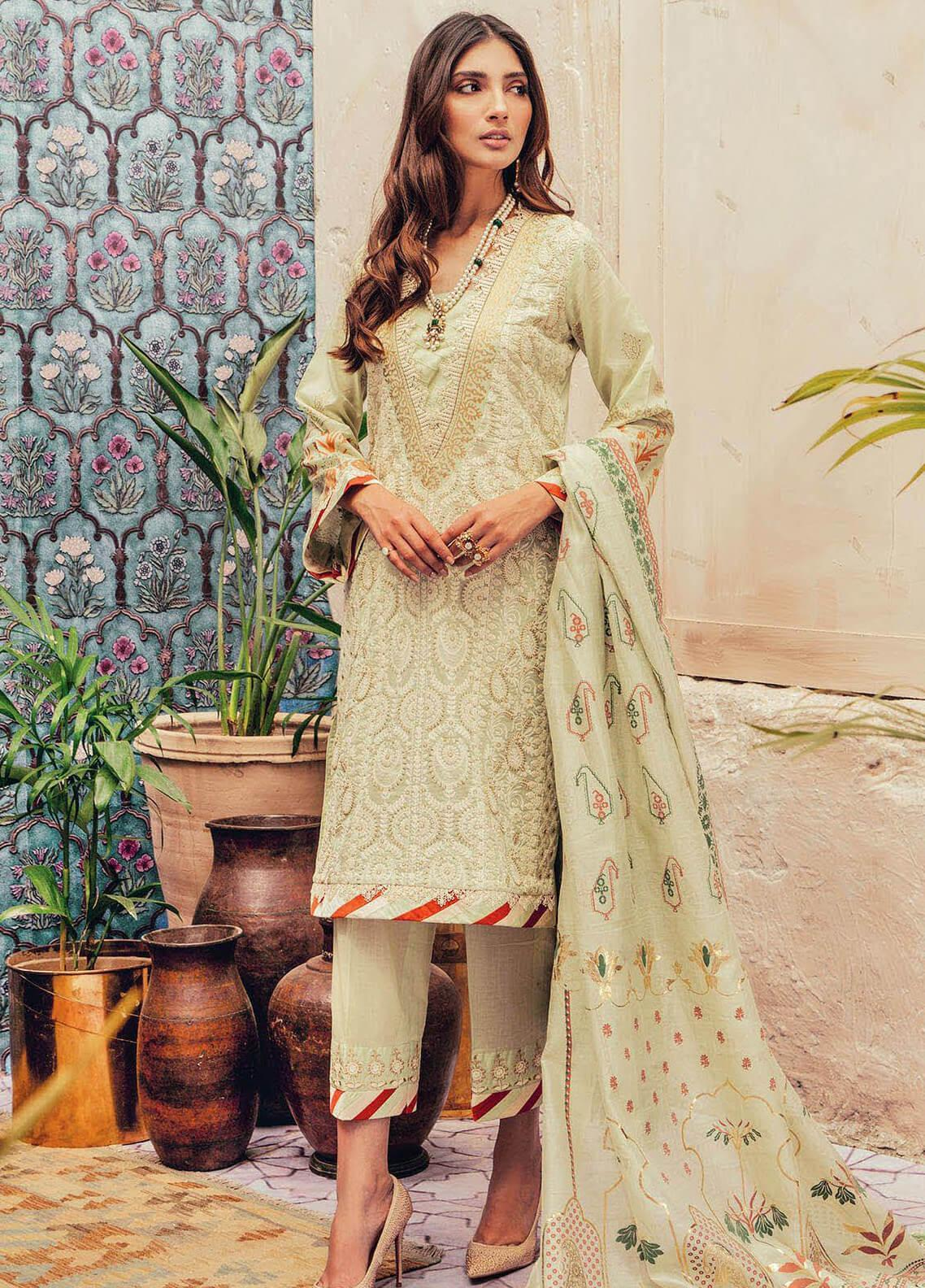 RajBari Embroidered Lawn Unstitched 3 Piece Suit RB20L 2-A - Luxury Collection