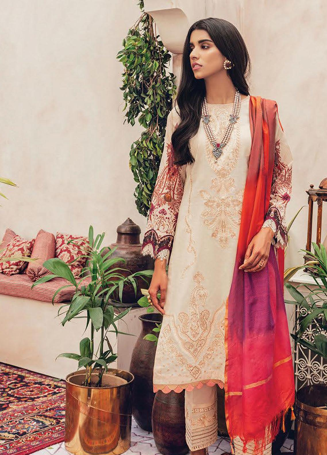 RajBari Embroidered Lawn Unstitched 3 Piece Suit RB20L 4-B - Luxury Collection