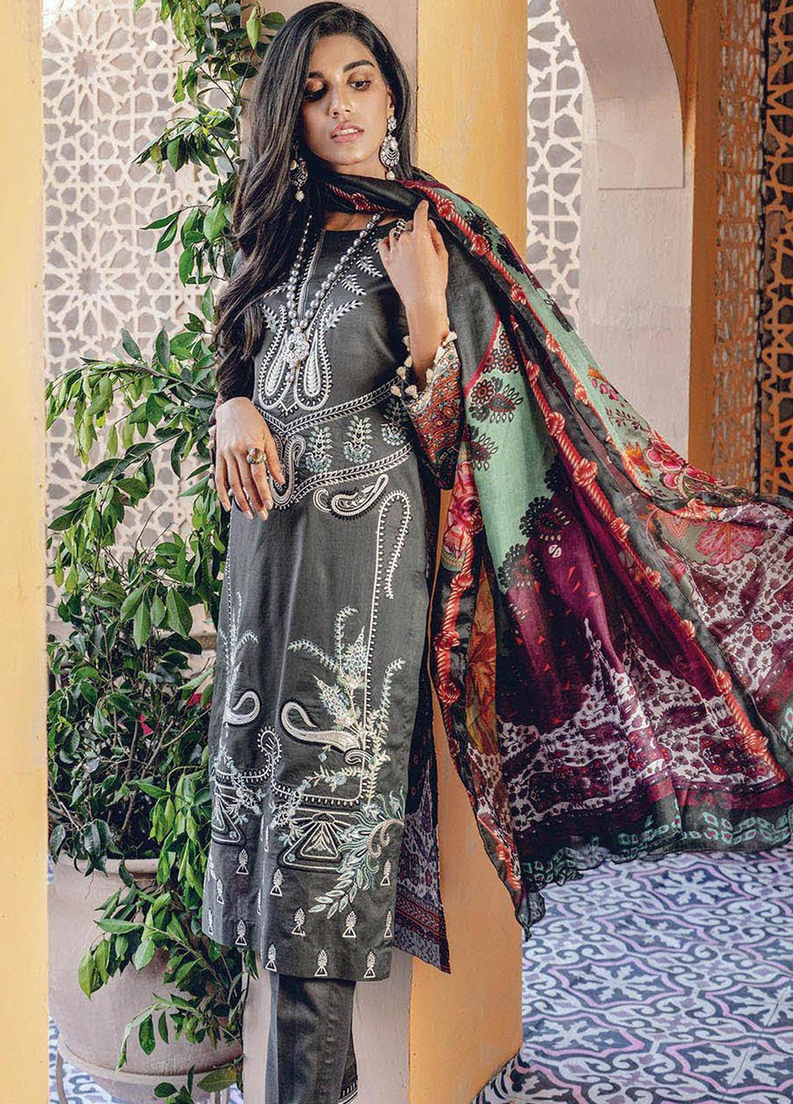 RajBari Embroidered Lawn Unstitched 3 Piece Suit RB20L 5-A - Luxury Collection