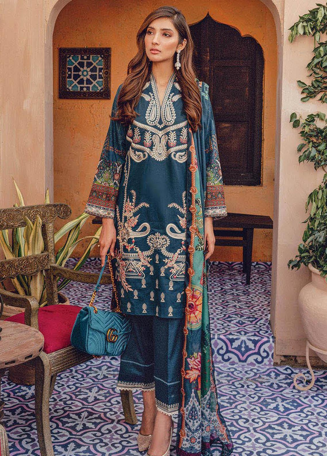RajBari Embroidered Lawn Unstitched 3 Piece Suit RB20L 5-B - Luxury Collection