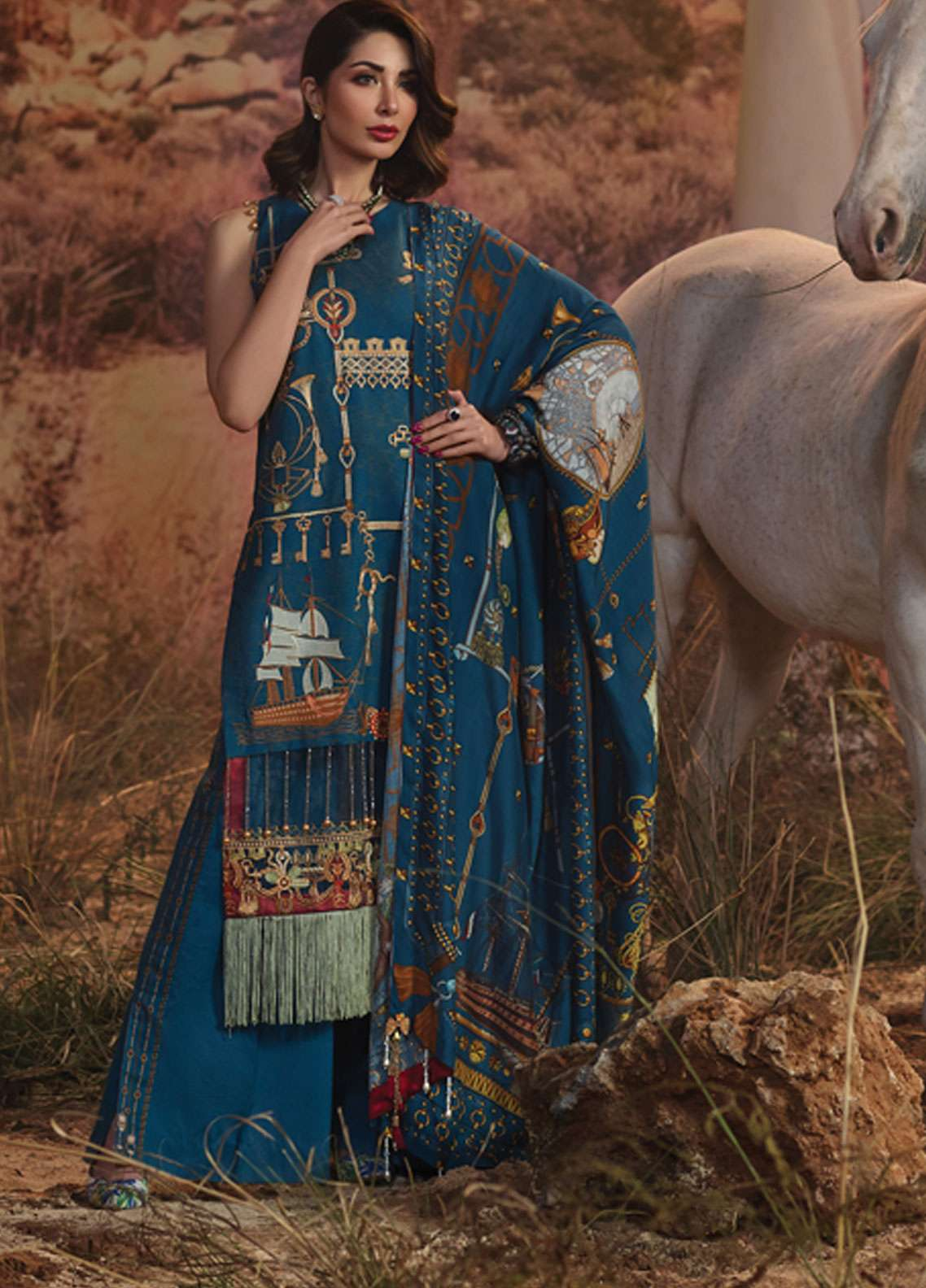 Rang Rasiya Embroidered Lawn Unstitched 3 Piece Suit RR19L 5003B - Spring / Summer Collection