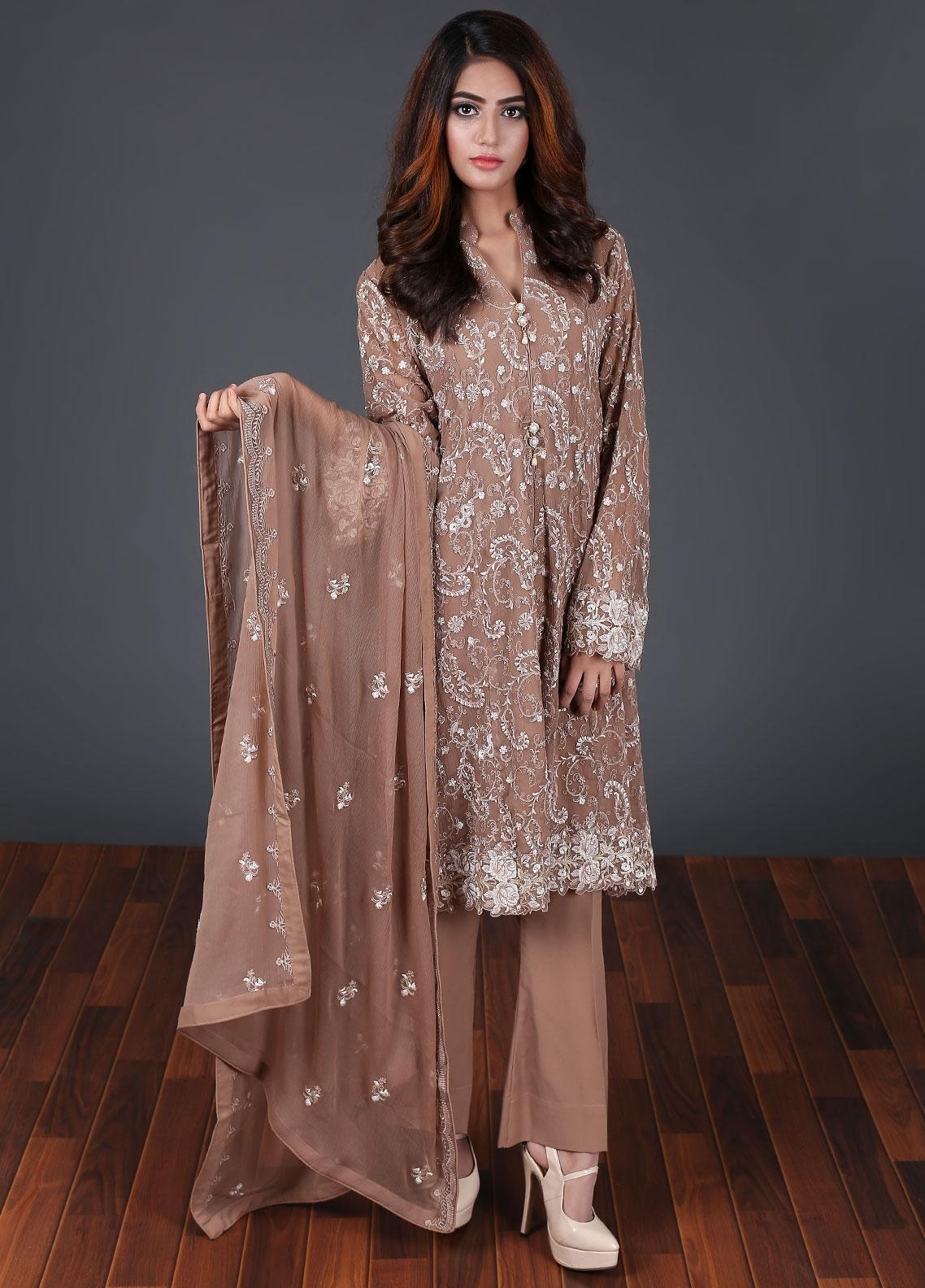 Rang Embroidered Chiffon Stitched 3 Piece Suit Fawn RG-0043