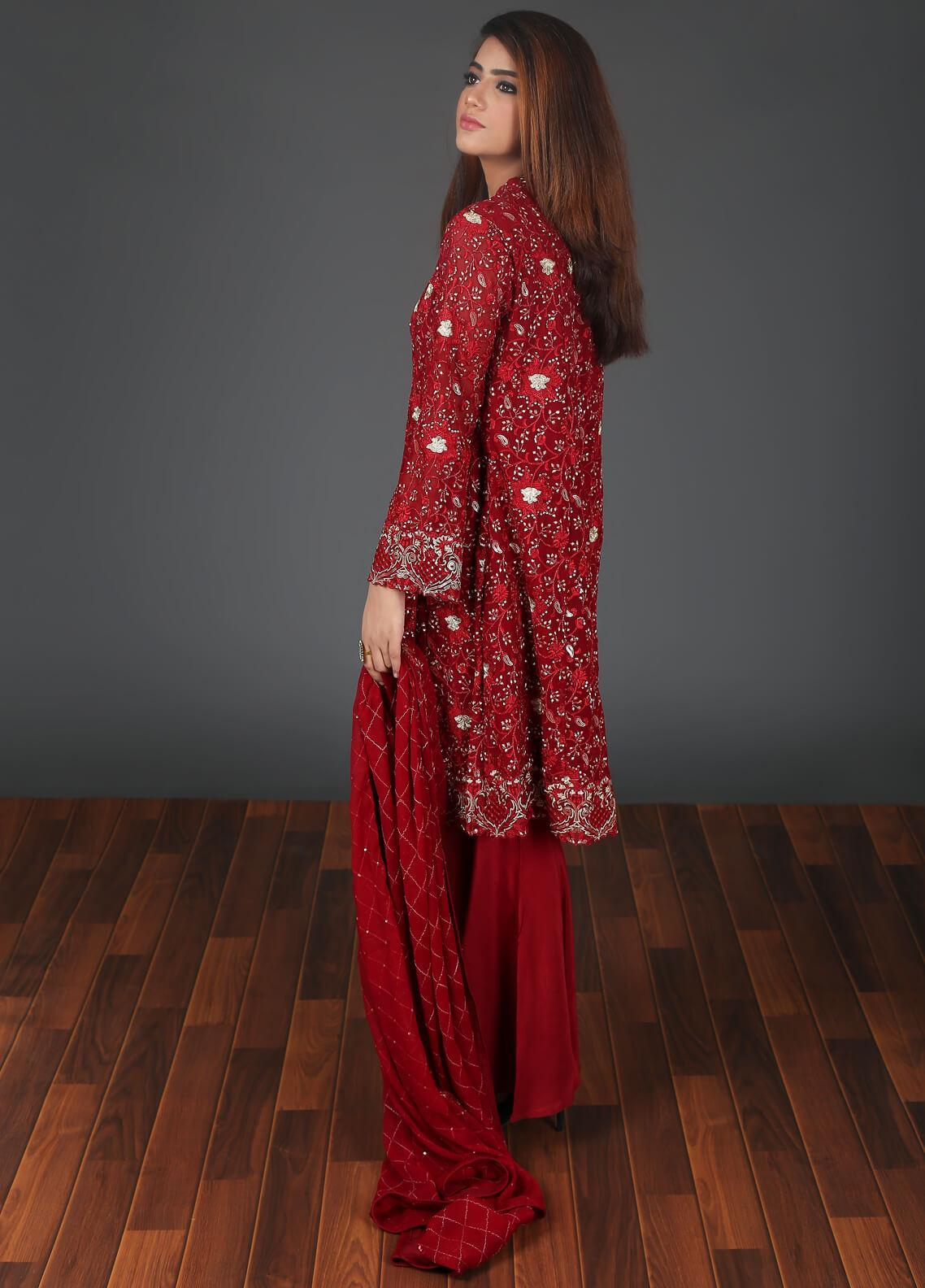 Rang Embroidered Chiffon Stitched 3 Piece Suit RG0055 Maroon