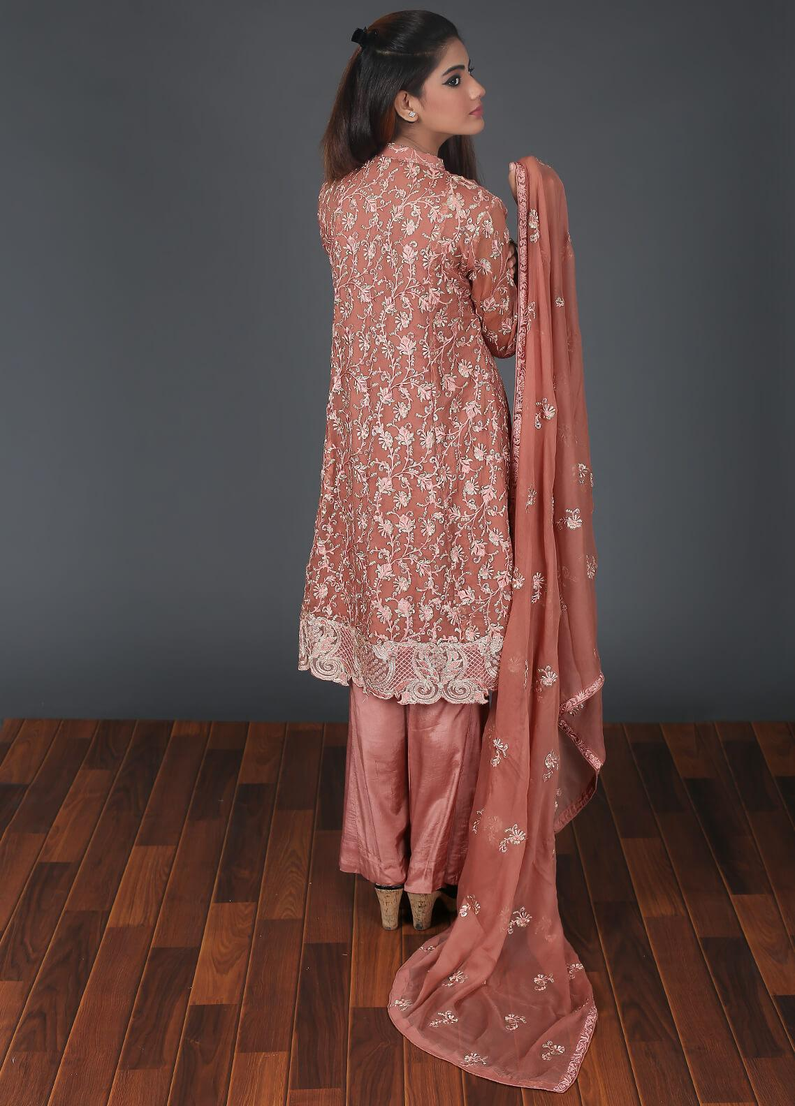 Rang Embroidered Chiffon Stitched 3 Piece Suit RG050 Peach