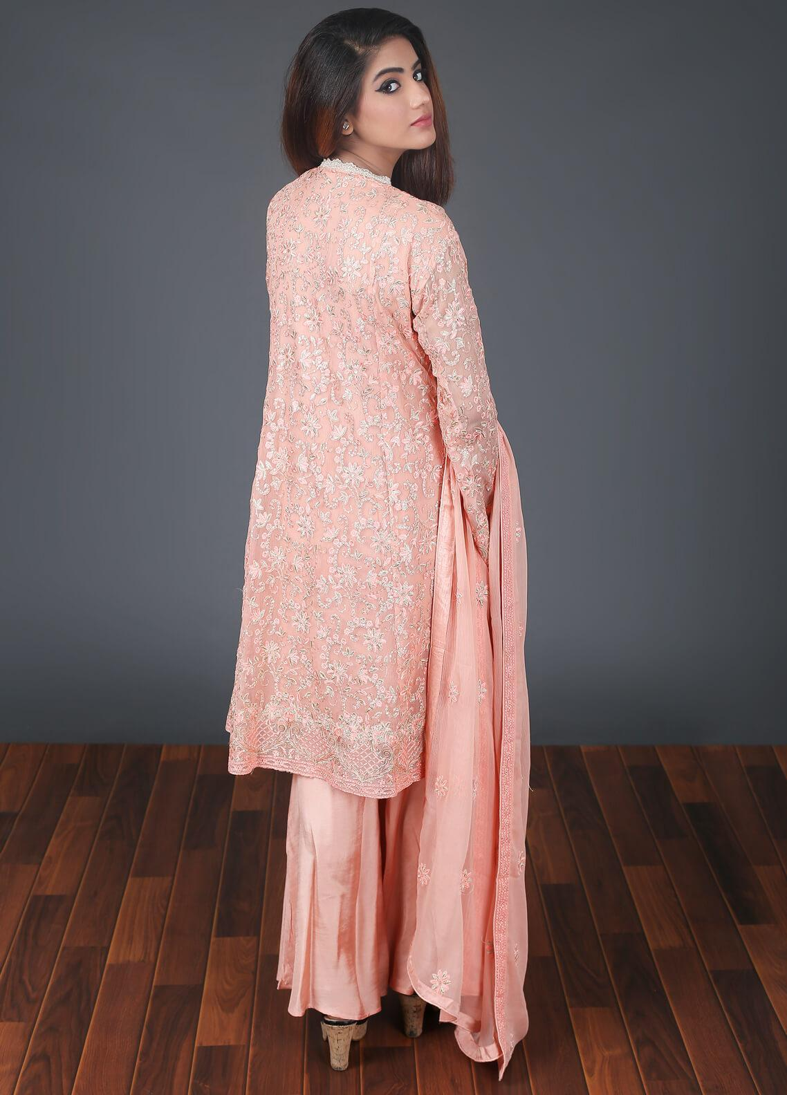 Rang Embroidered Chiffon Stitched 3 Piece Suit RG051 Peach
