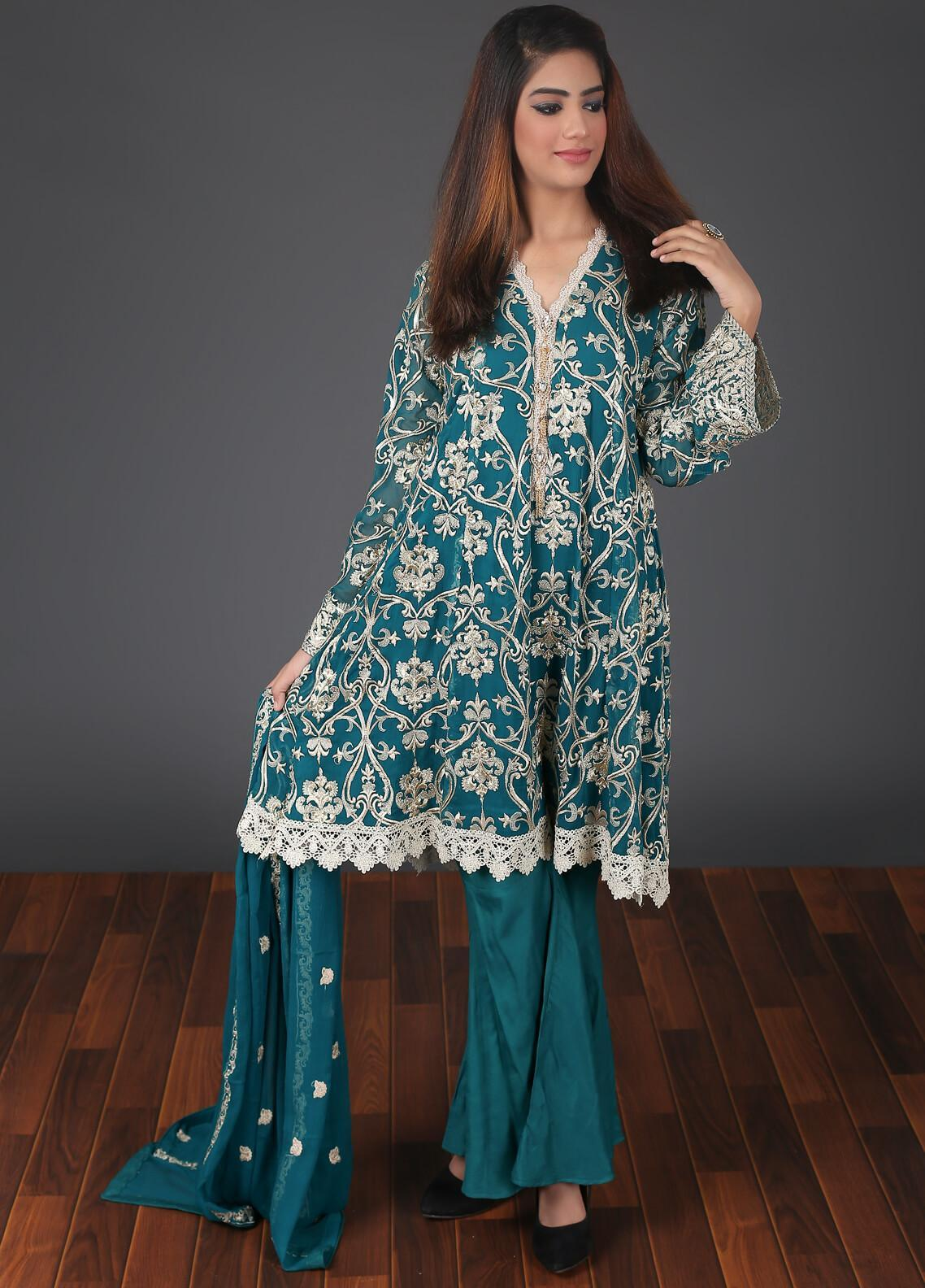 Rang Embroidered Chiffon Stitched 3 Piece Suit RG052 Green
