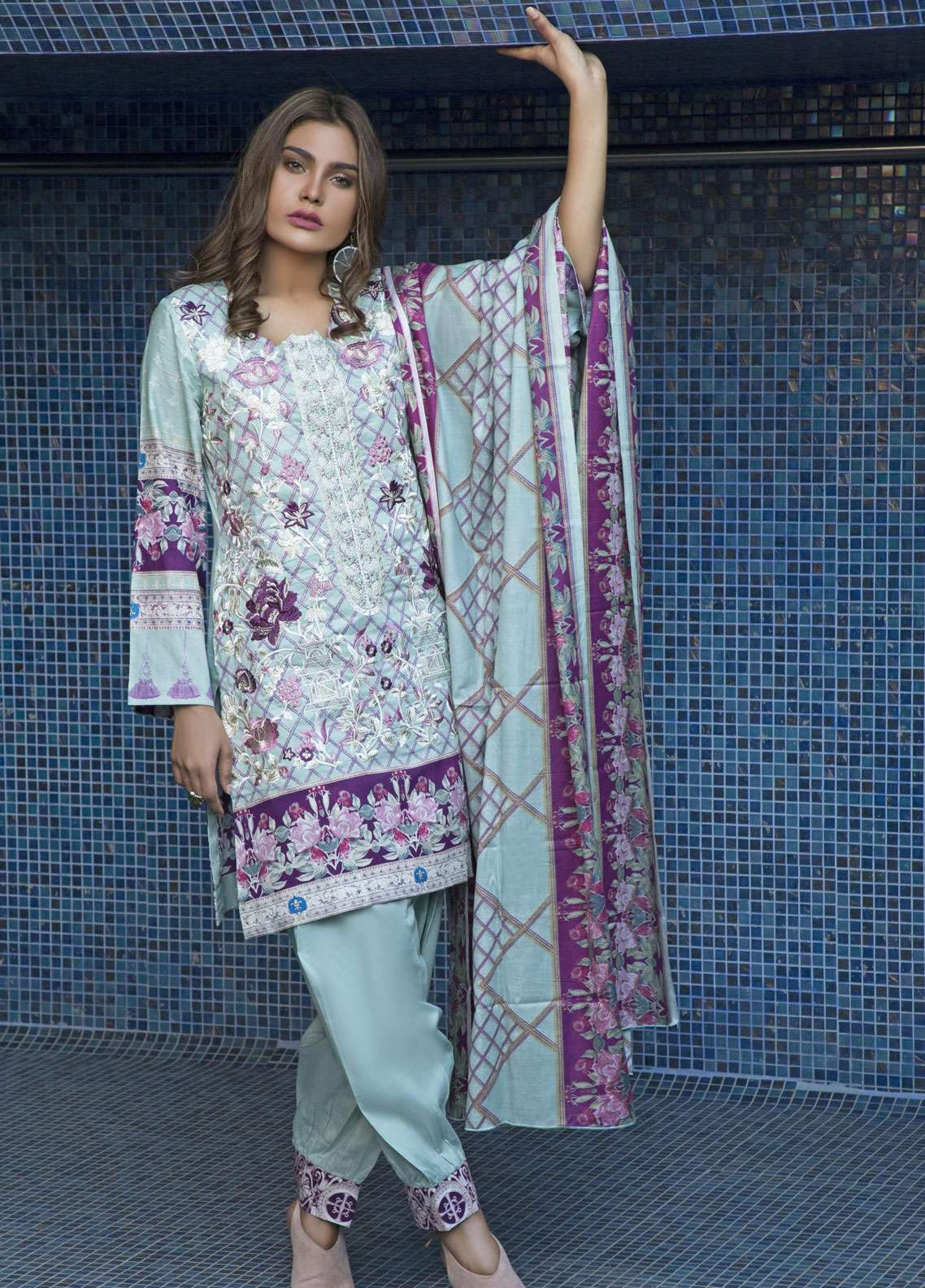 Rangreza Embroidered Lawn Unstitched 3 Piece Suit RZS19L 01B - Spring / Summer Collection