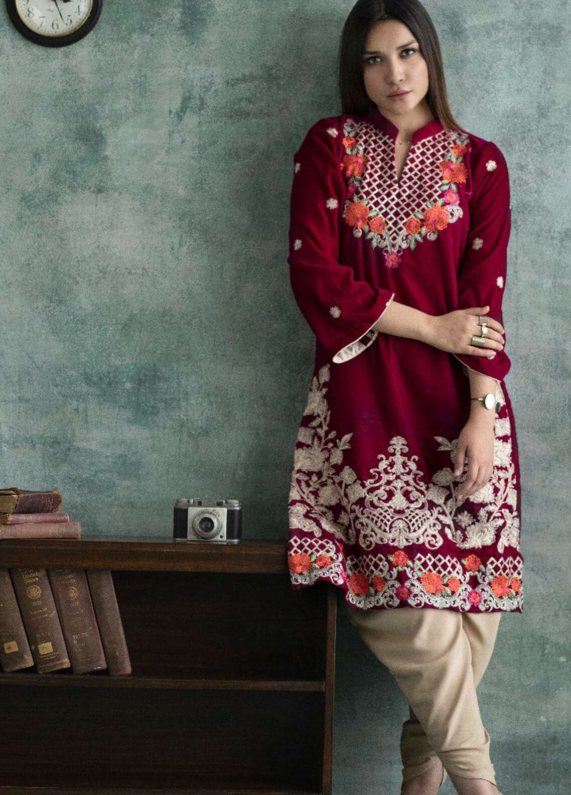 Rani Manan Embroidered Velvet Unstitched Kurties RM18-V3 02 - Winter Collection