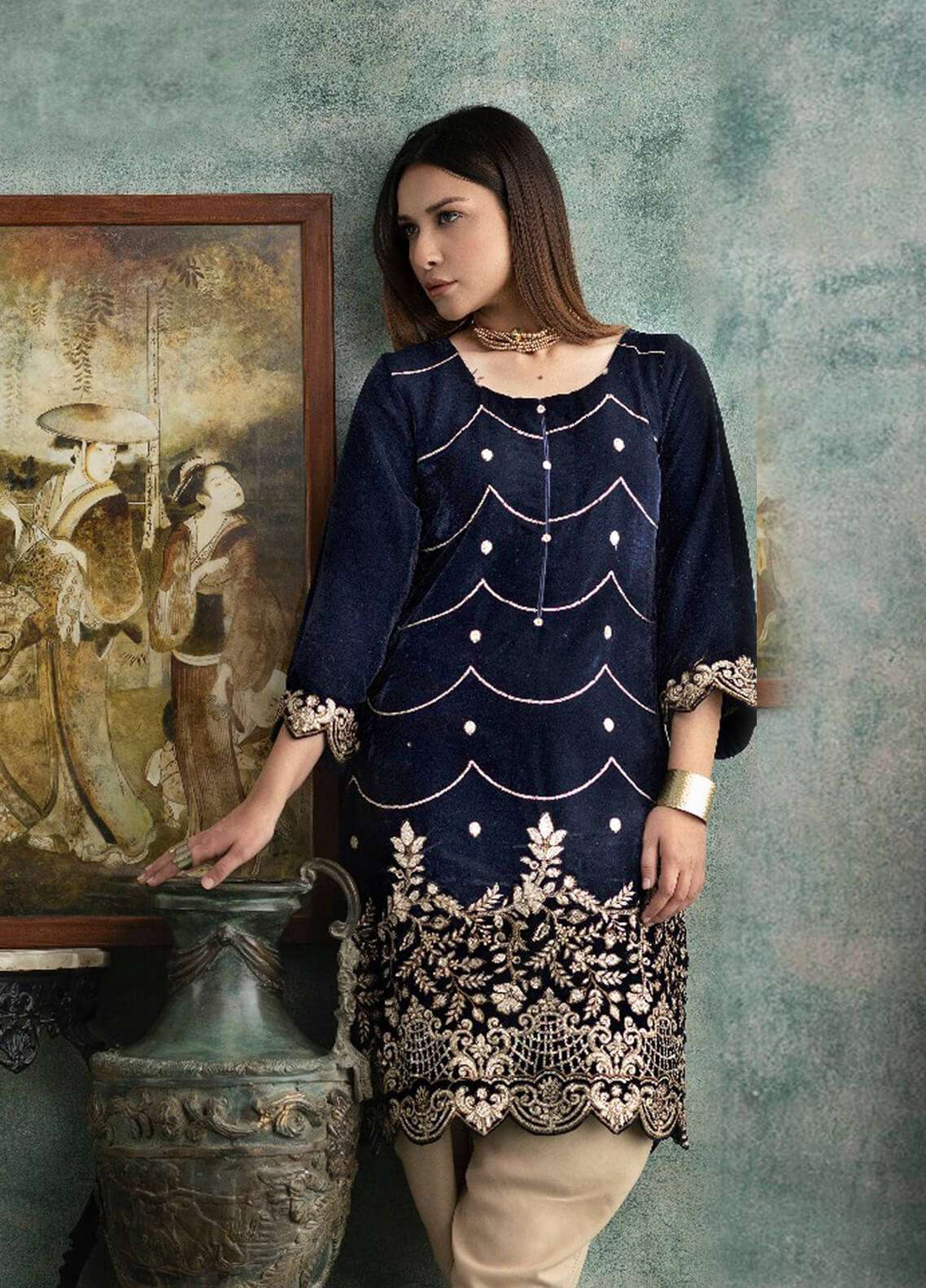 Rani Manan Embroidered Velvet Unstitched Kurties RM18-V3 05 - Winter Collection