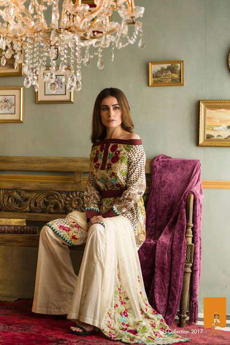 Rabea By Shariq Textiles Embroidered Lawn Unstitched 3 Piece Suit RB17E 5A
