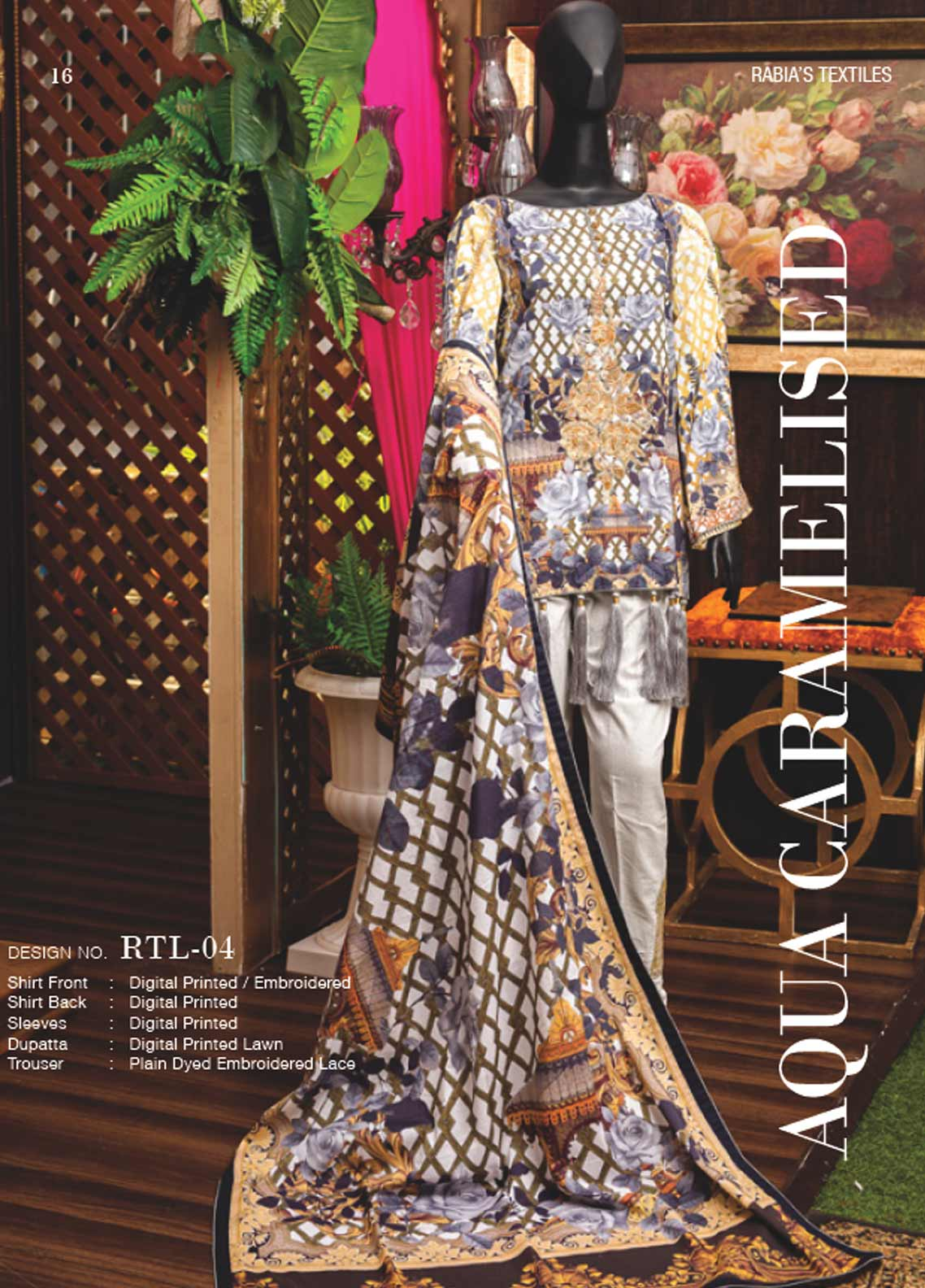 Rabia's Textiles Embroidered Lawn Unstitched 3 Piece Suit RBA18L 04 - Festive Collection