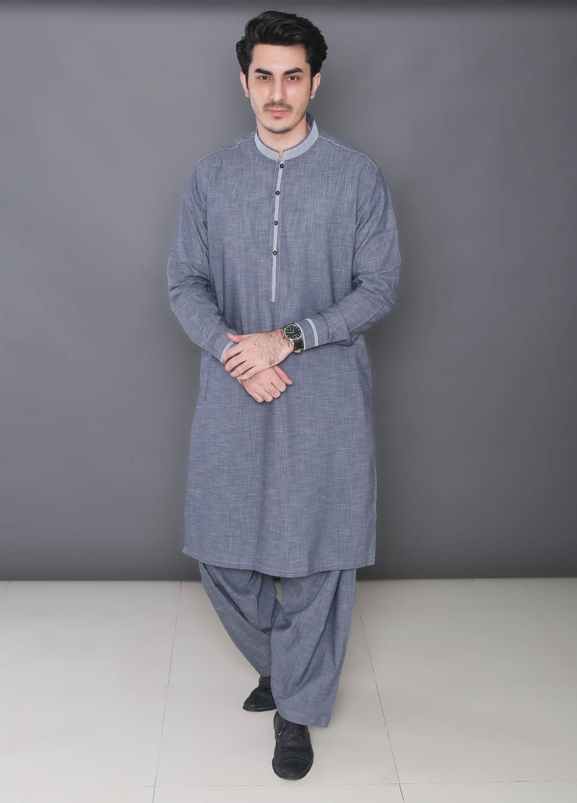 Real Image Wash N Wear Formal Kameez Shalwar for Men -  373 Grey