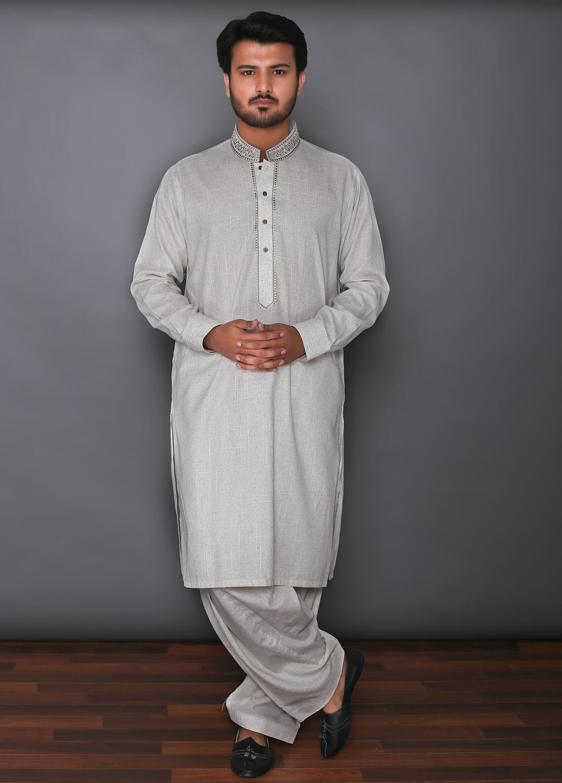 Real Image Cotton Formal Kameez Shalwar for Men -  D-293 Green