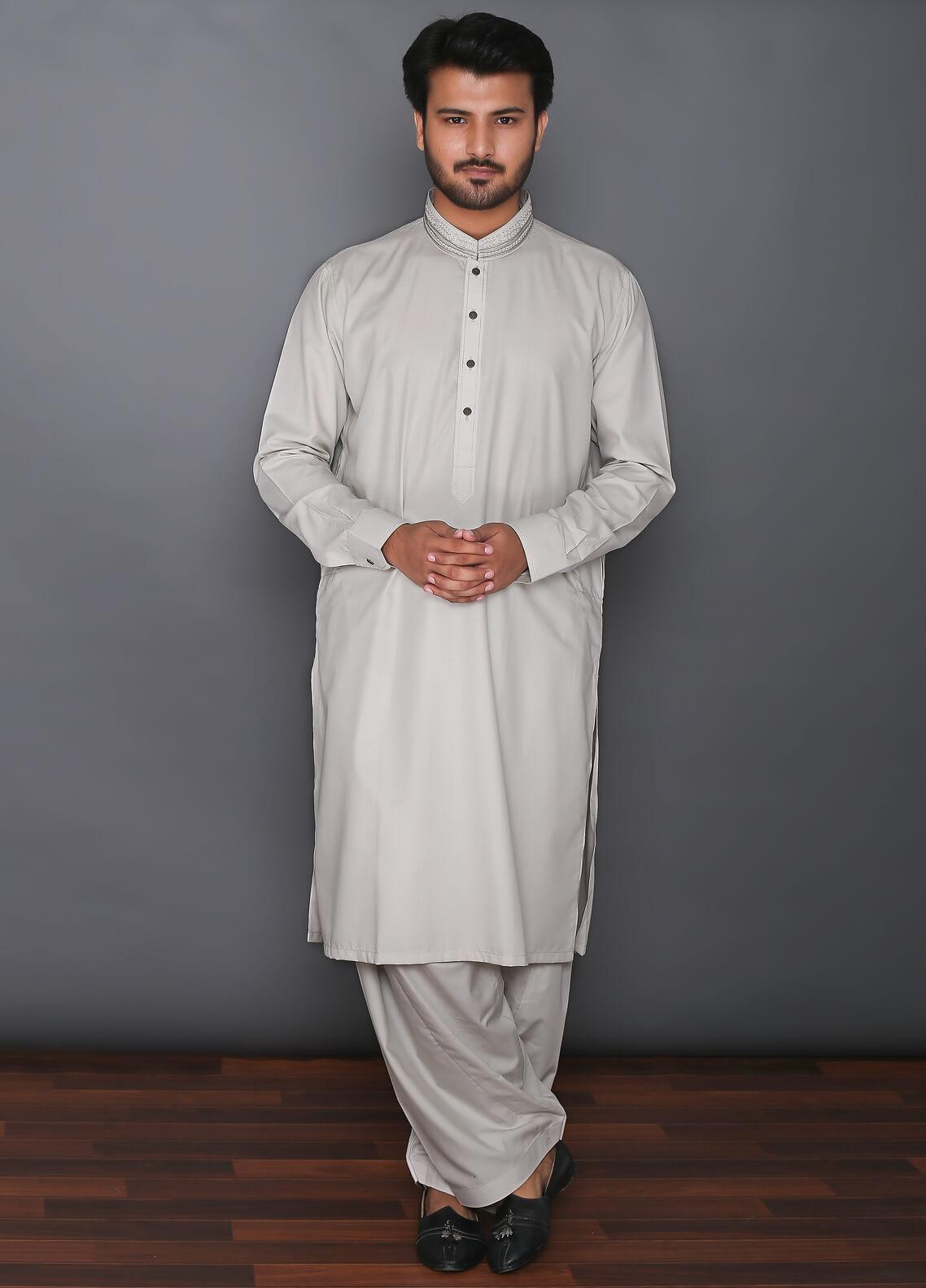 Real Image Cotton Formal Kameez Shalwar for Men -  D-388 Fawn