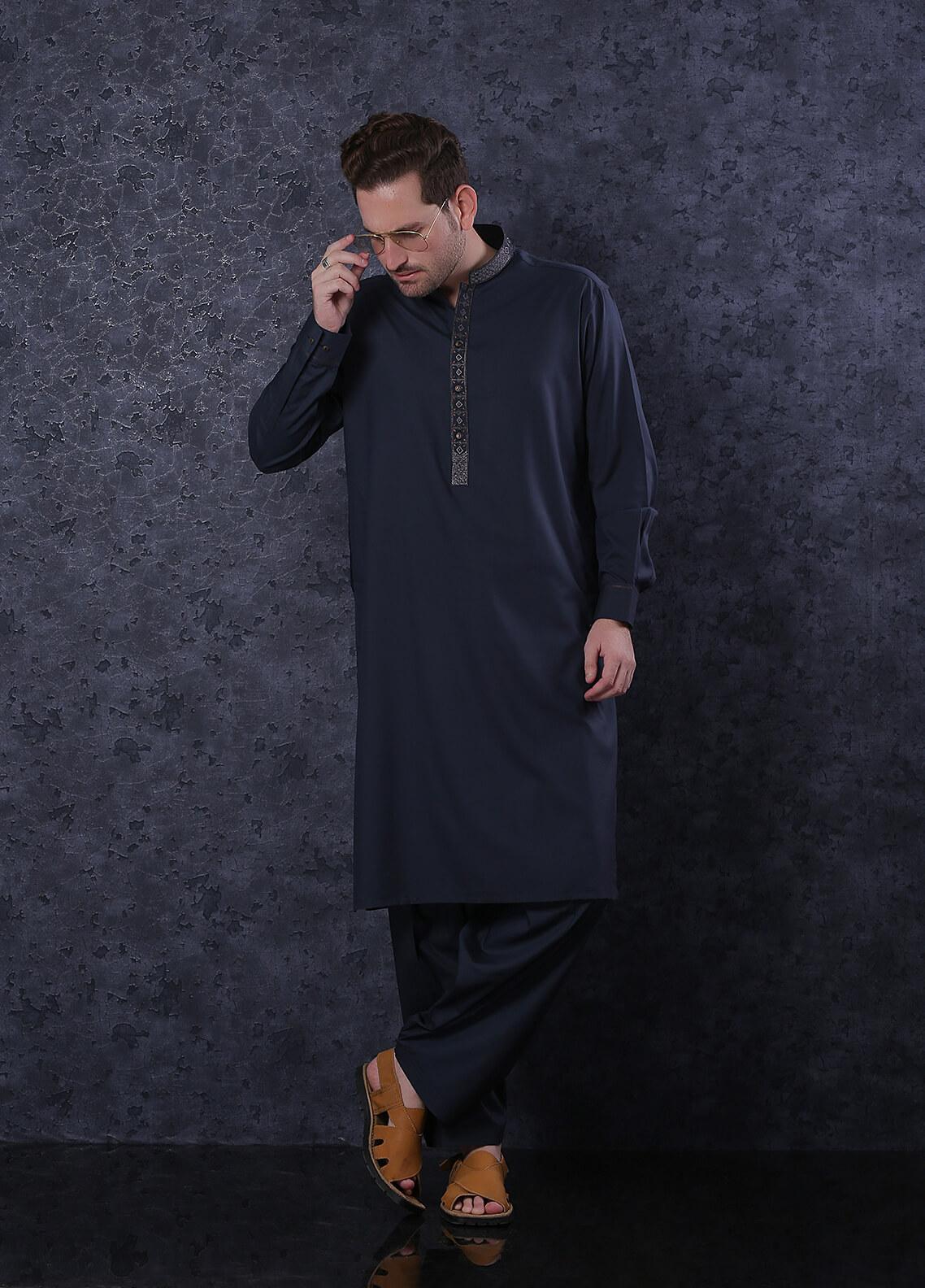 Real Image Wash N Wear Formal Kameez Shalwar for Men -  D-425 Blue