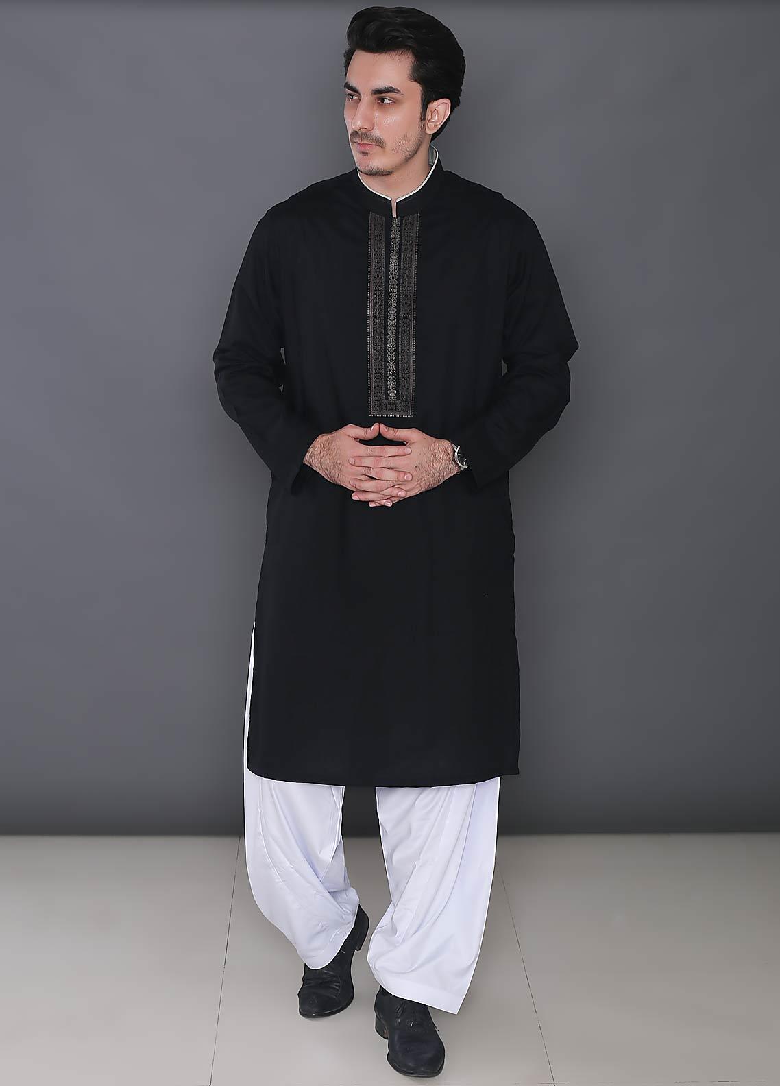 Real Image Cotton Formal Kurtas for Men -  343 Black