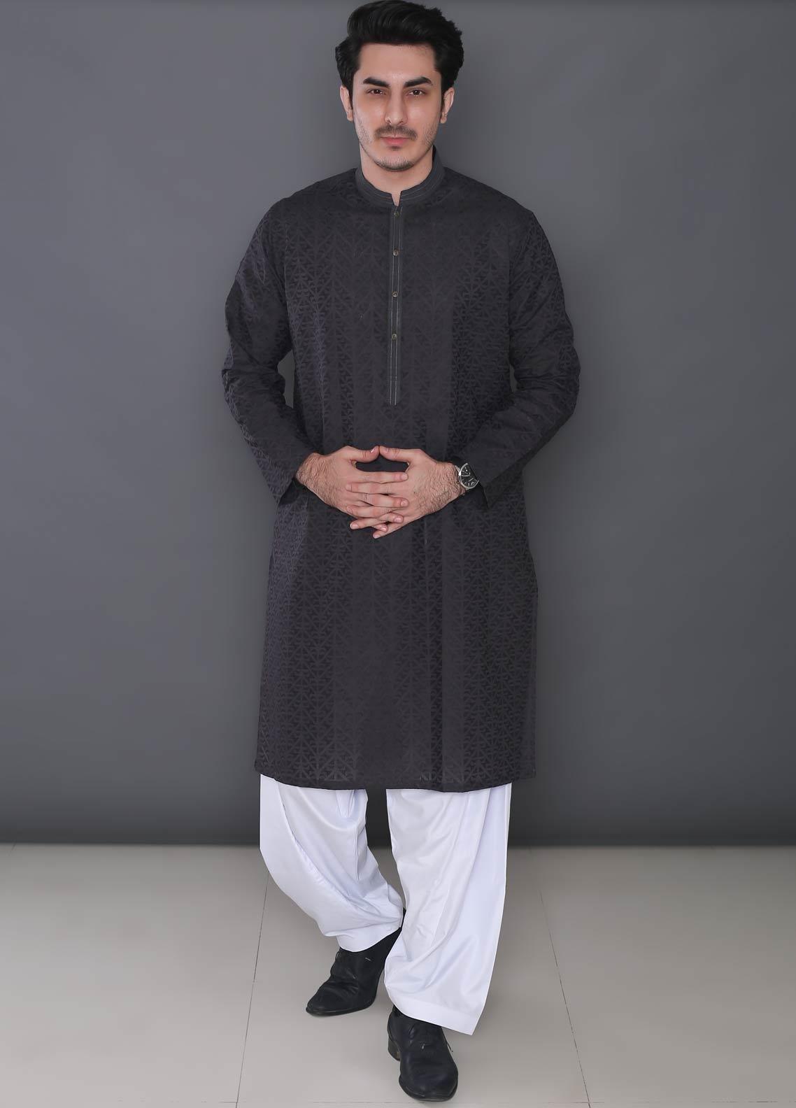 Real Image Cotton Formal Men Kurtas -  363 Grey