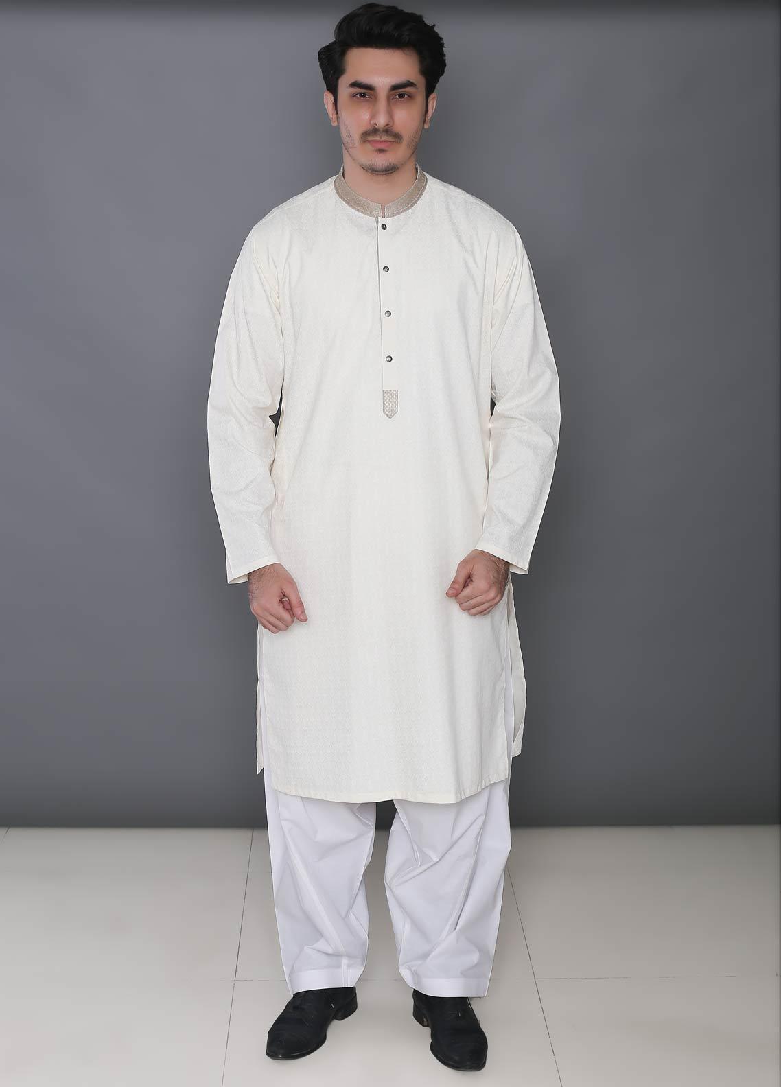 Real Image Cotton Formal Men Kurtas -  393 Cream