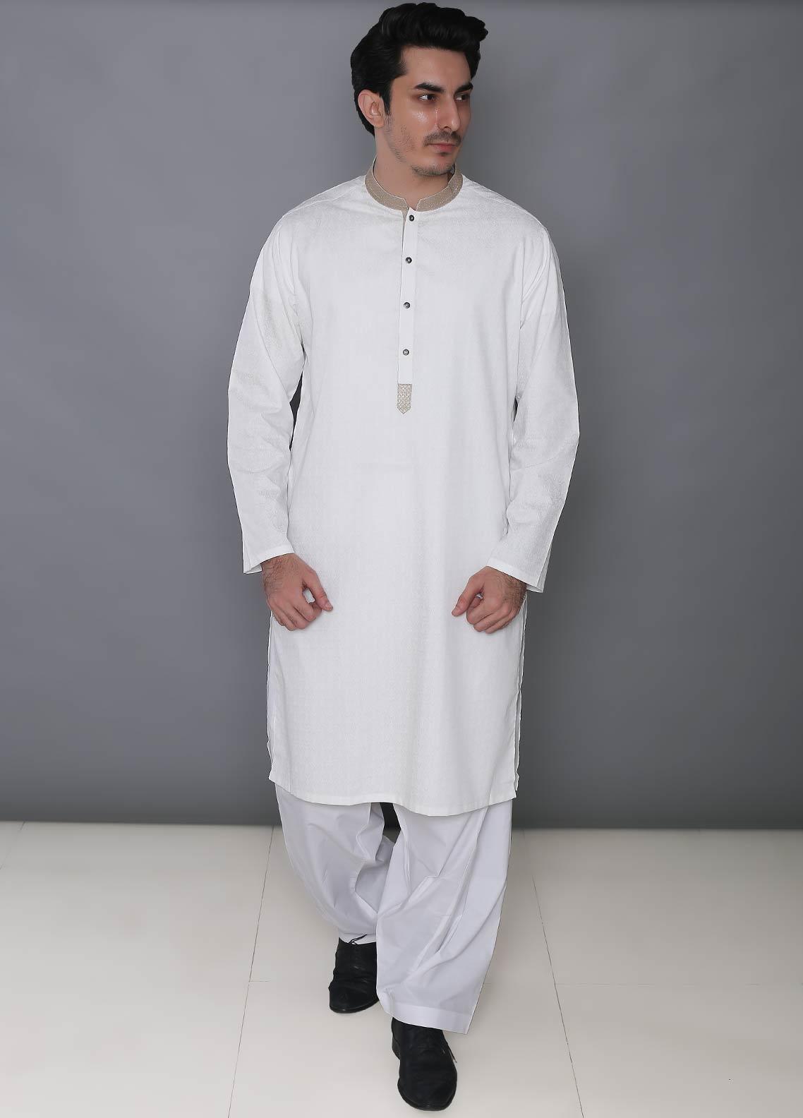 Real Image Cotton Formal Kurtas for Men -  393 Off White