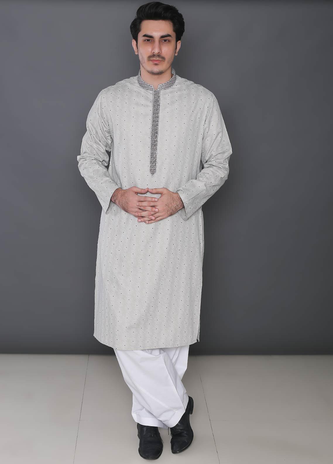 Real Image Cotton Formal Kurtas for Men -  395 Grey