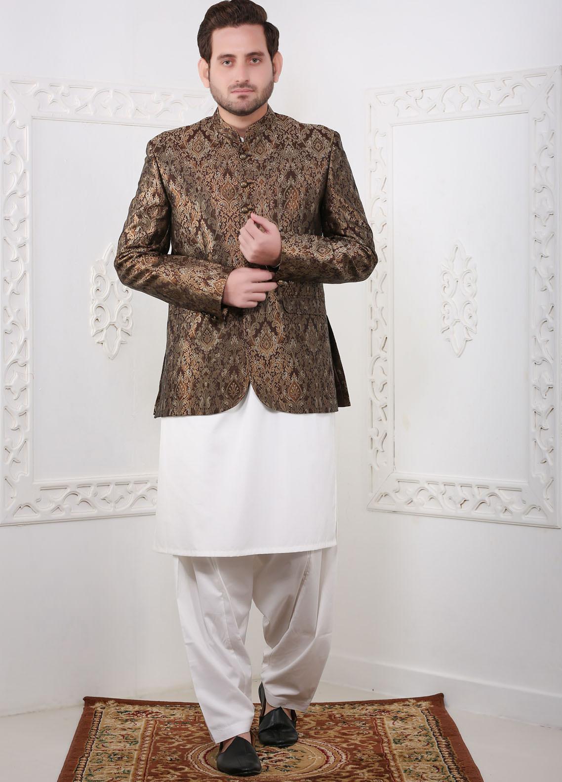 Real Image Jamawar Fancy Men Prince Coats - RI20PC C8 Brown