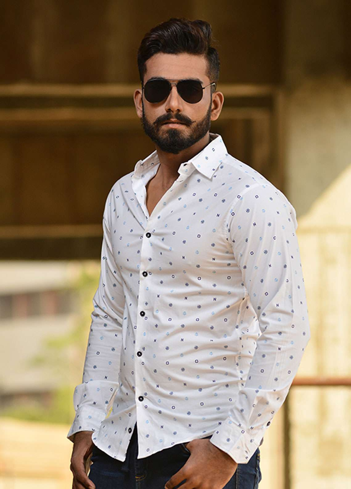 Red Tree Cotton Casual Shirts for Men - White RT3042