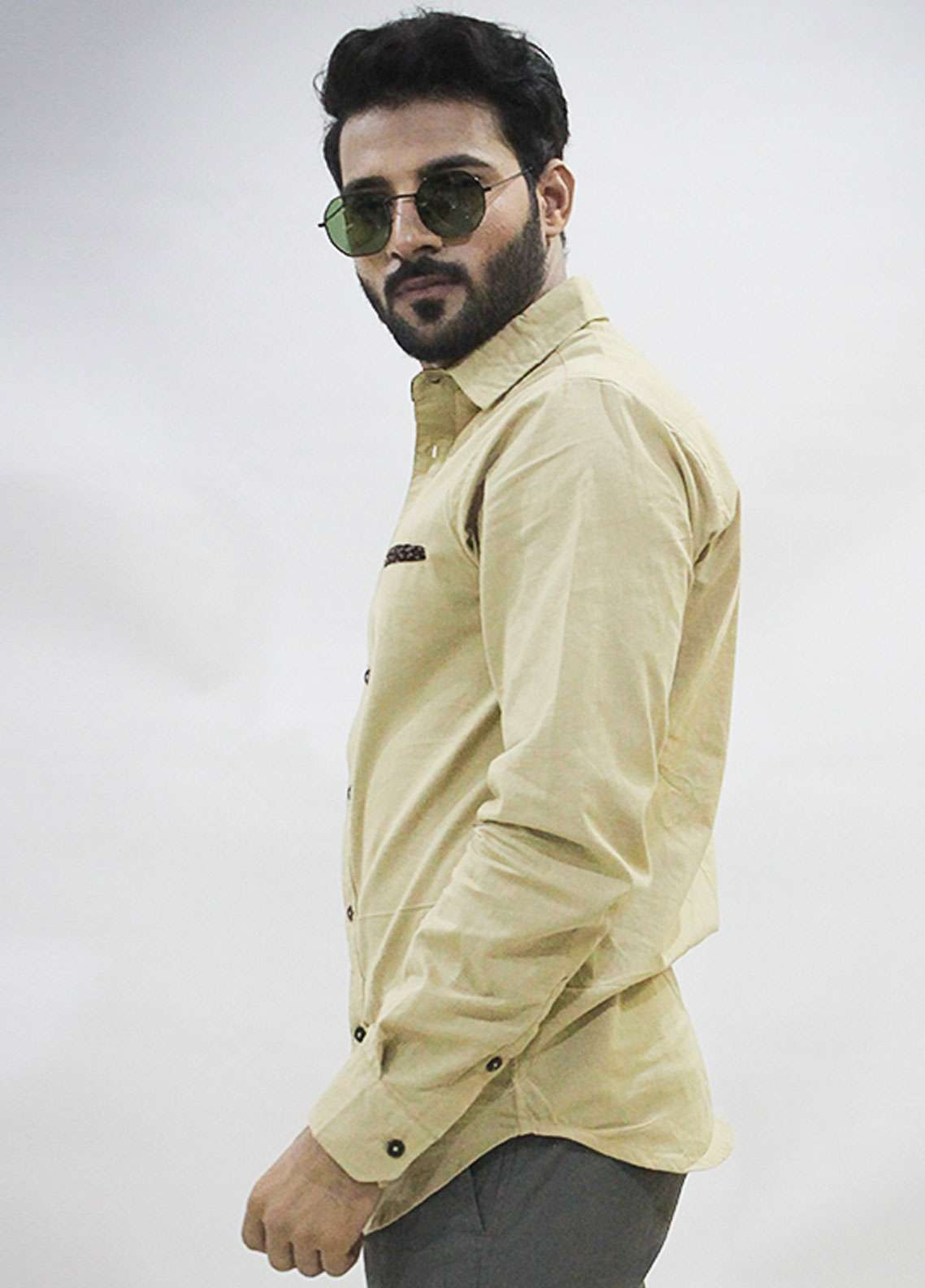 Red Tree Cotton Casual Shirts for Men - Beige RT3055