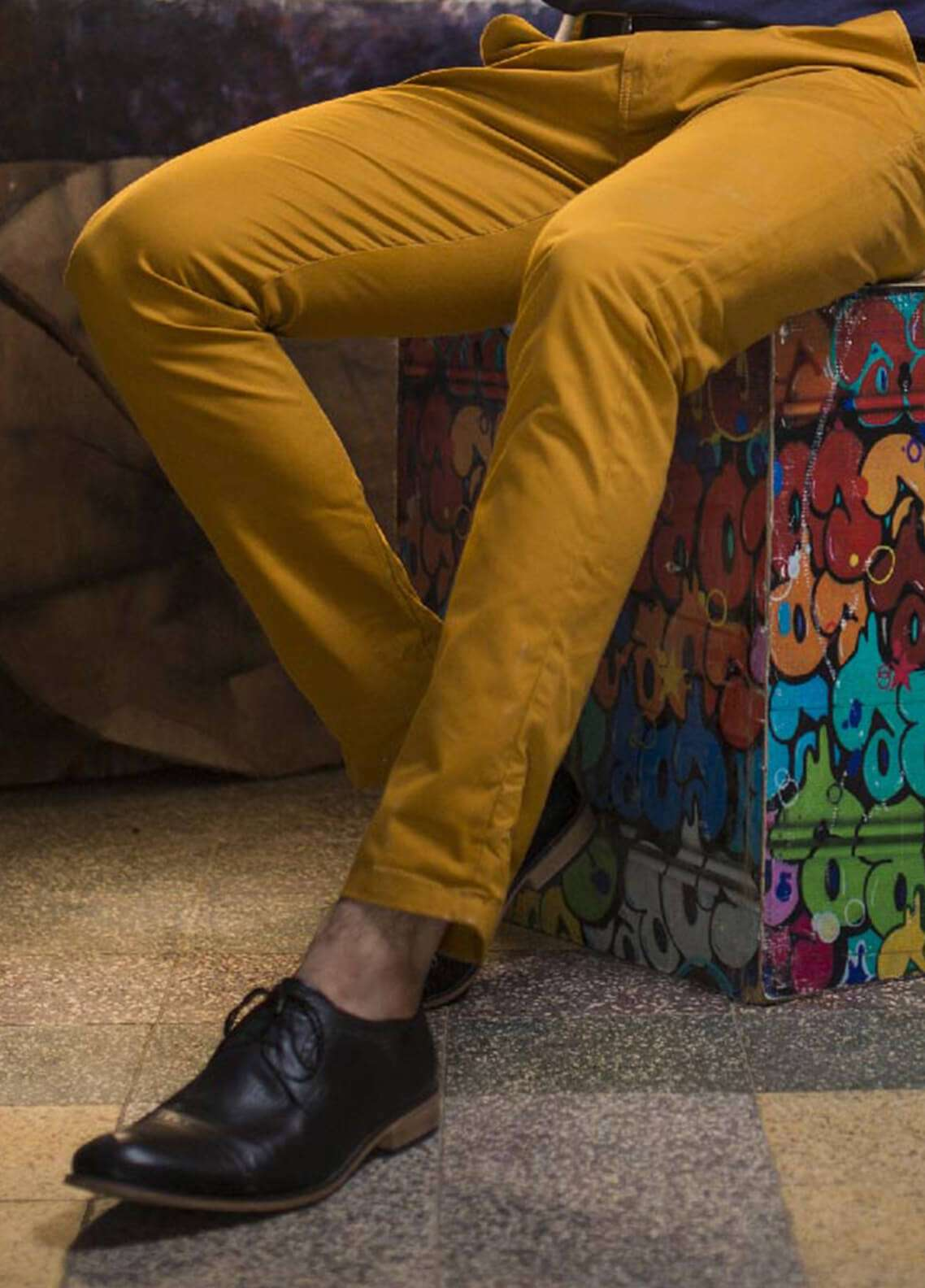 Red Tree Cotton Chino Pants for Men - Mustard RTP137