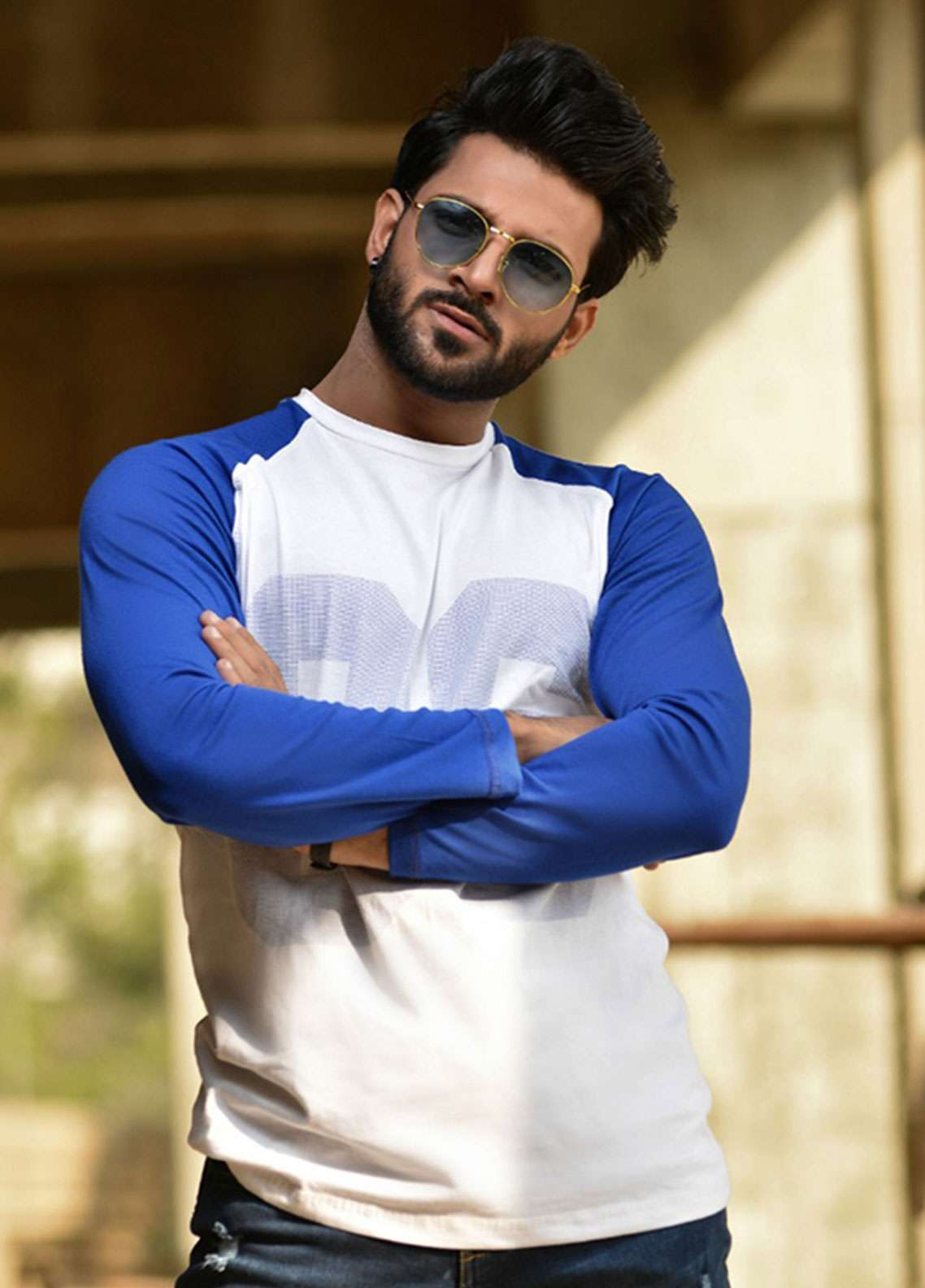 Red Tree Cotton Casual T-Shirts for Men - Blue RT1569