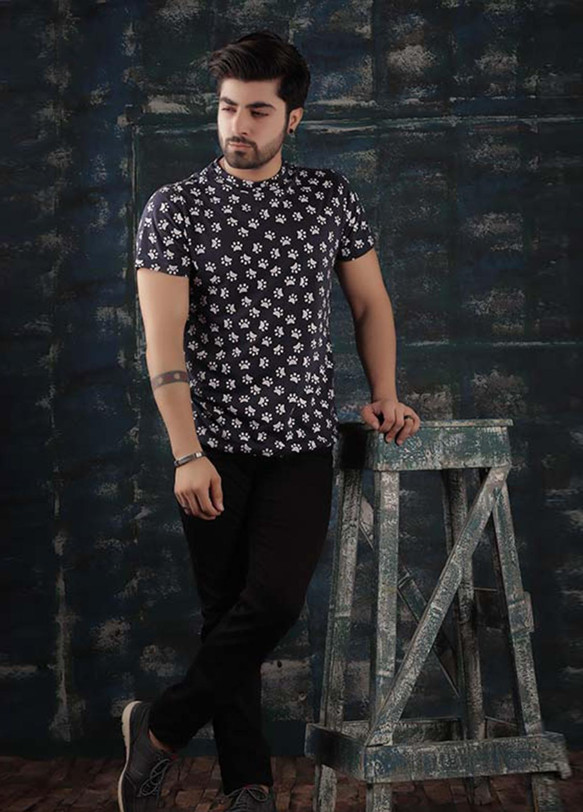 Red Tree Cotton Round Neck T-Shirts for Men - Navy Blue RT1599