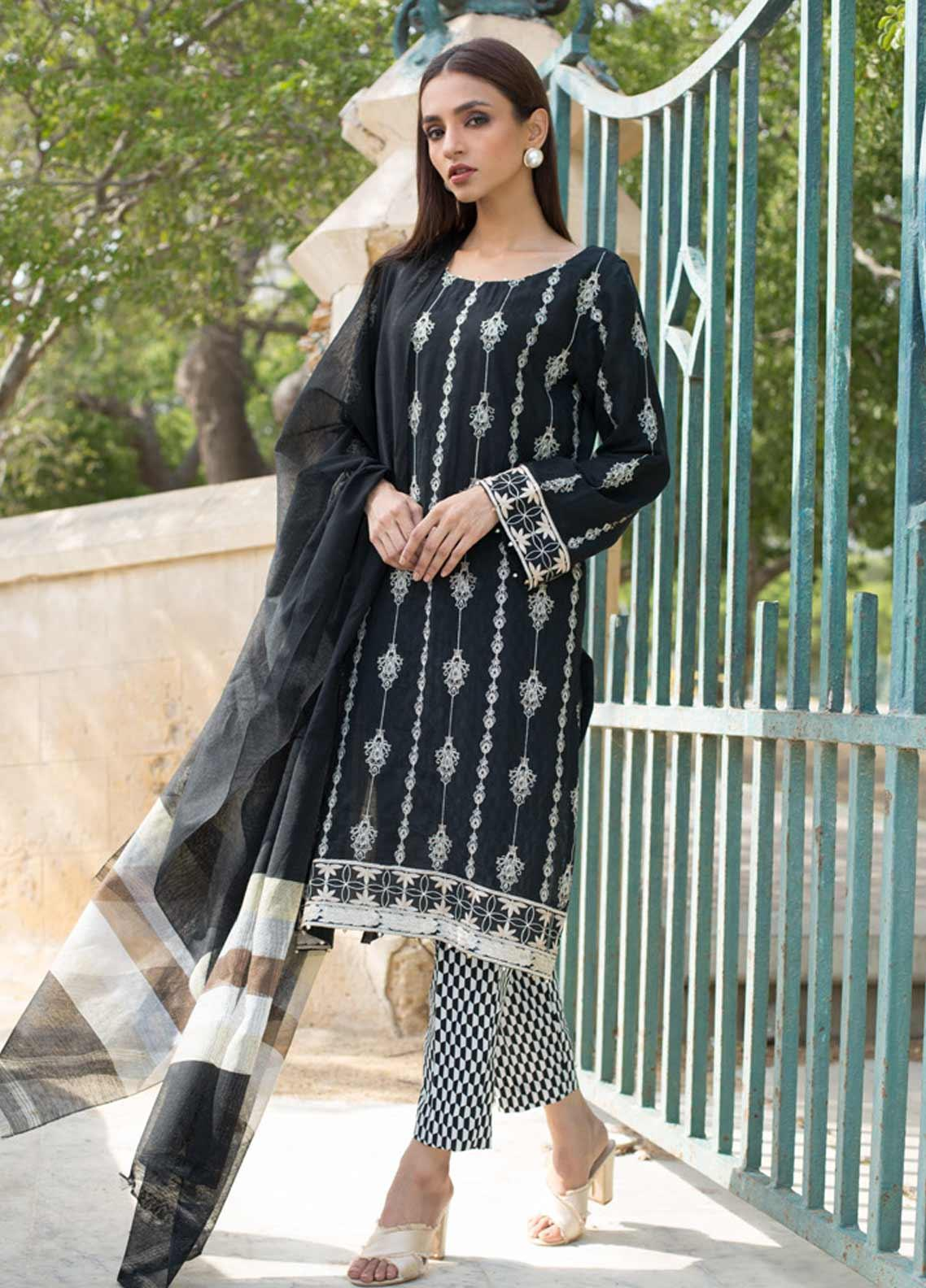 Regalia Textiles Embroidered Lawn Unstitched 3 Piece Suit RG19BW 08 - Black & White Collection