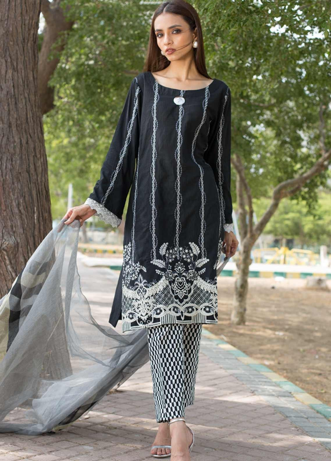 Regalia Textiles Embroidered Lawn Unstitched 3 Piece Suit RG19BW 10 - Black & White Collection