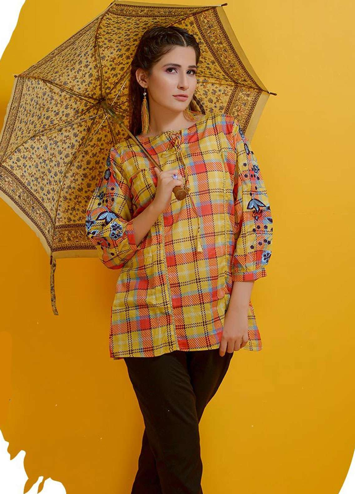 Rehaab by Jaffrani Textiles Embroidered Lawn Stitched Kurtis RHB19P FEC-156 GOLD CIRCLE
