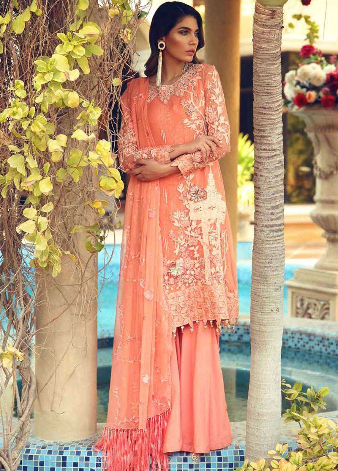 Rehaab by Jaffrani Textiles Embroidered Chiffon Unstitched 3 Piece Suit RHB19WE ASHEN PLUME - Wedding Collection