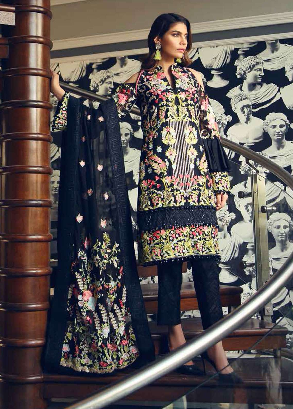 Rehaab by Jaffrani Textiles Embroidered Organza Unstitched 3 Piece Suit RHB19WE BLACK HAZE - Wedding Collection