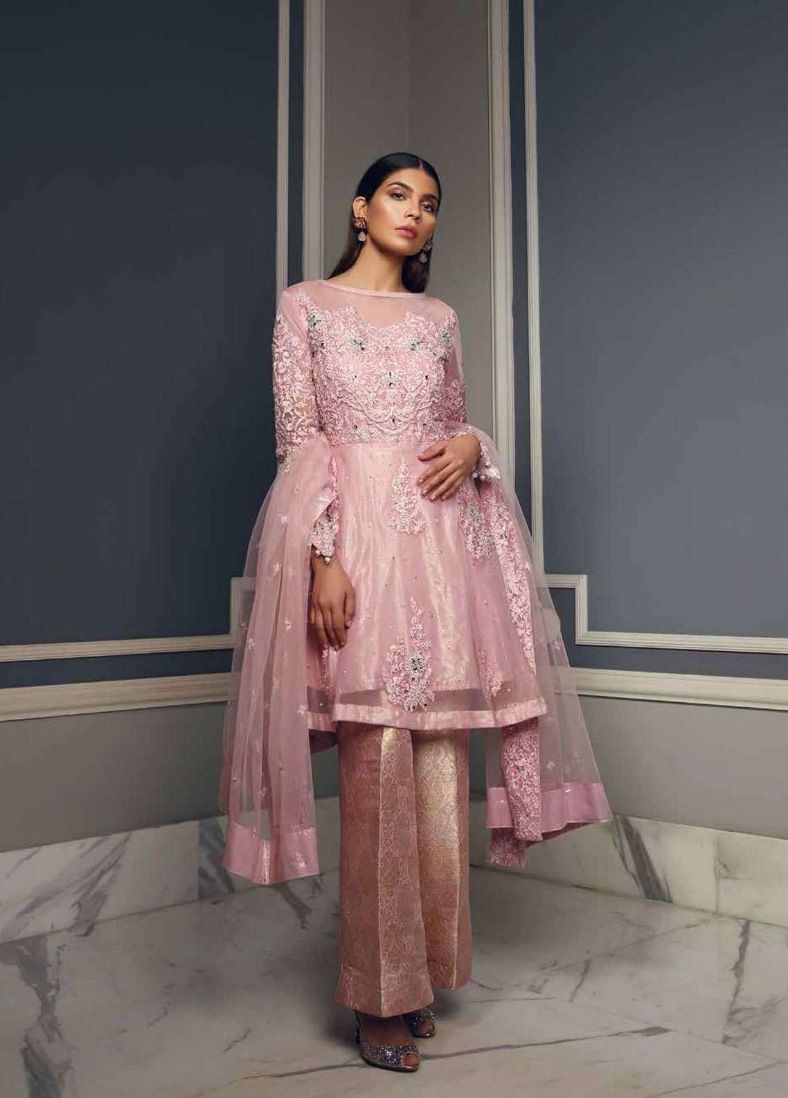 Rehaab by Jaffrani Textiles Embroidered Organza Unstitched 3 Piece Suit RHB19WE PEARLED IVORY - Wedding Collection