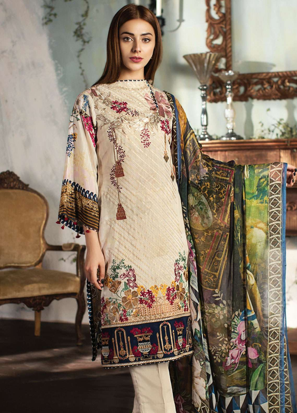 Resham Ghar Embroidered Silk Unstitched 3 Piece Suit RG18DS 02 - Luxury Collection