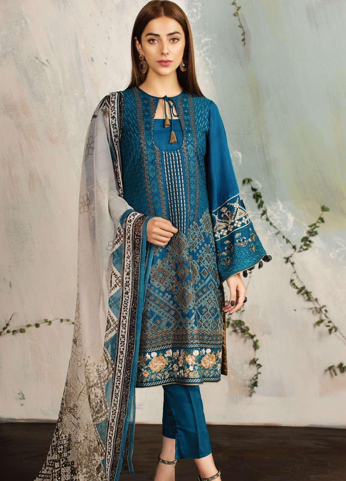 Resham Ghar Embroidered Silk Unstitched 3 Piece Suit RG18DS 03 - Luxury Collection