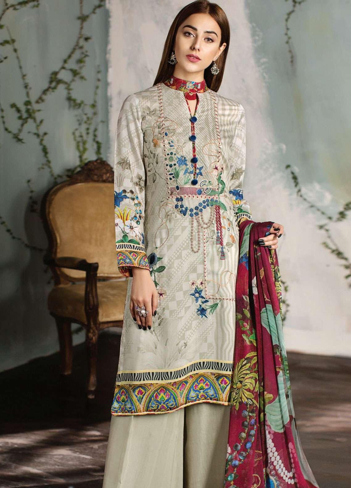 Resham Ghar Embroidered Silk Unstitched 3 Piece Suit RG18DS 05 - Luxury Collection