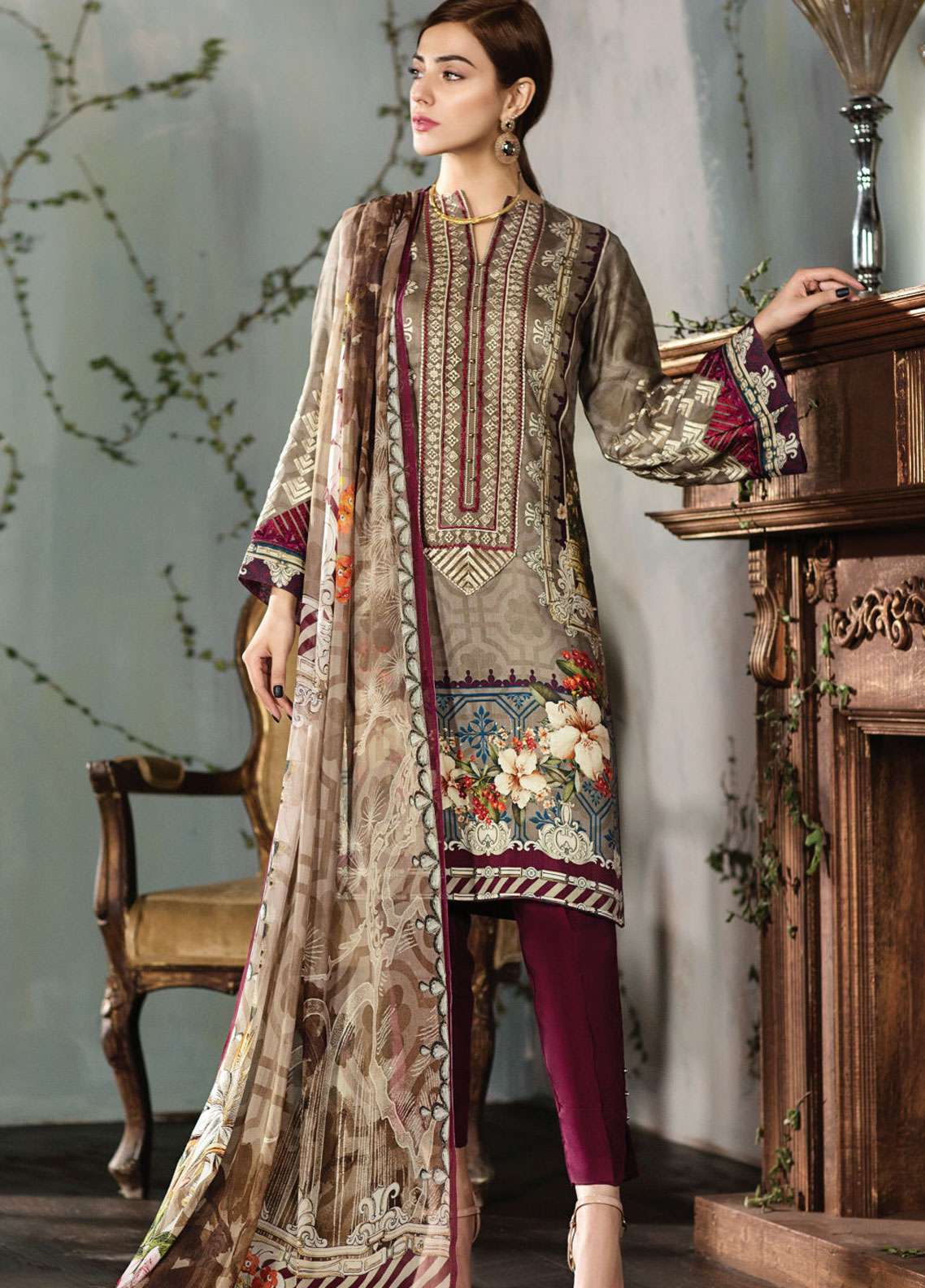 4786137d32 Resham Ghar Embroidered Silk Unstitched 3 Piece Suit RG18DS 06 - Luxury  Collection