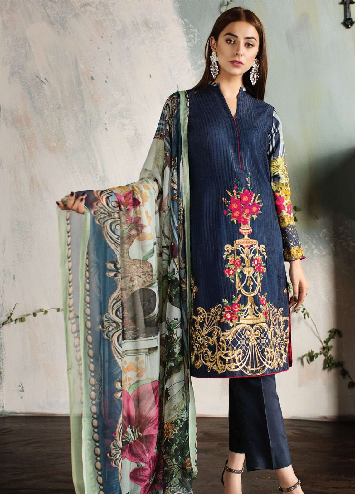073385ca09 Resham Ghar Embroidered Silk Unstitched 3 Piece Suit RG18DS 07 - Luxury  Collection