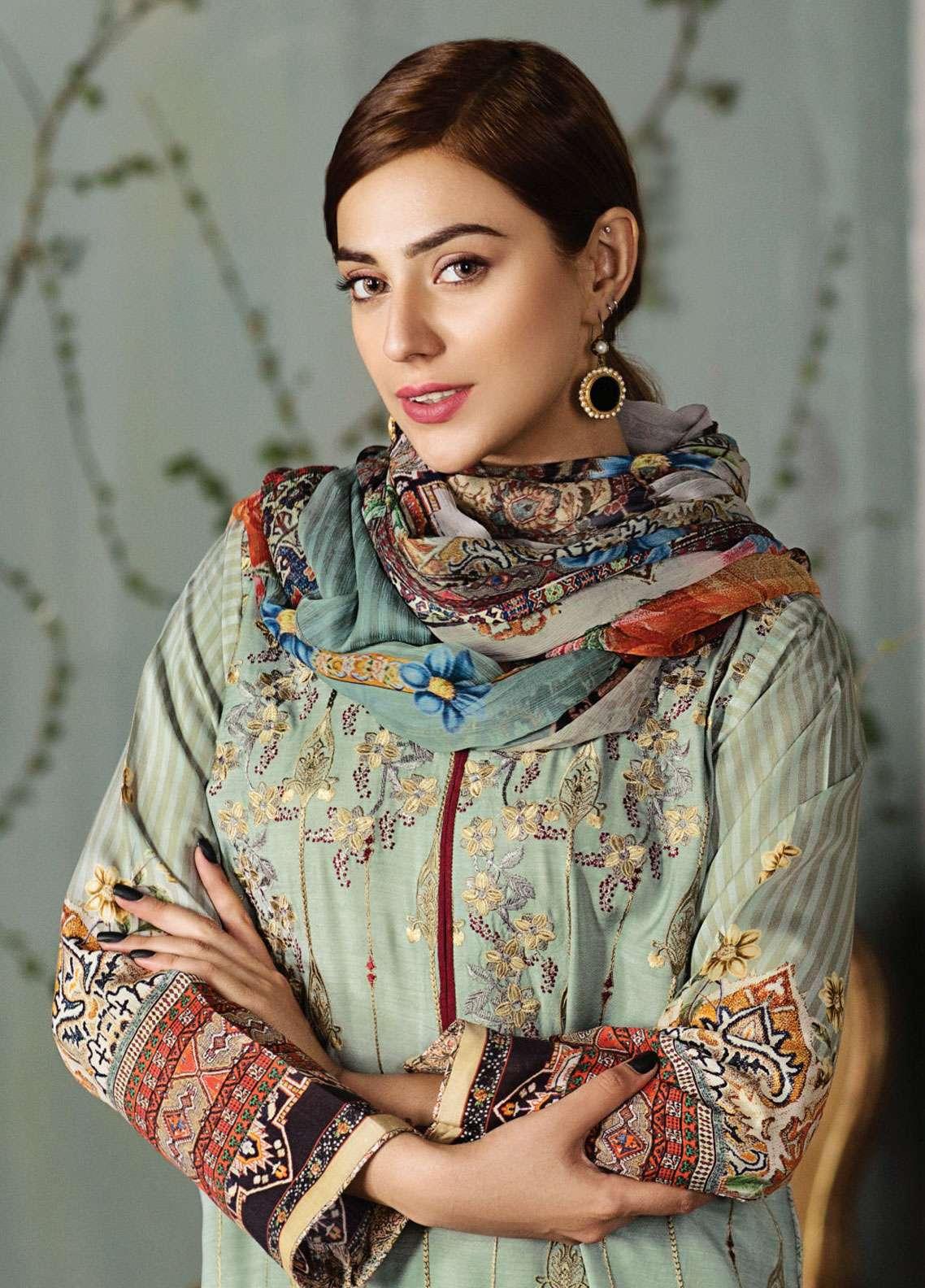 Resham Ghar Embroidered Silk Unstitched 3 Piece Suit RG18DS 08 - Luxury Collection