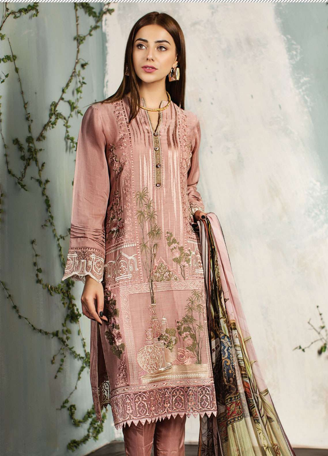 Resham Ghar Embroidered Silk Unstitched 3 Piece Suit RG18DS 09 - Luxury Collection