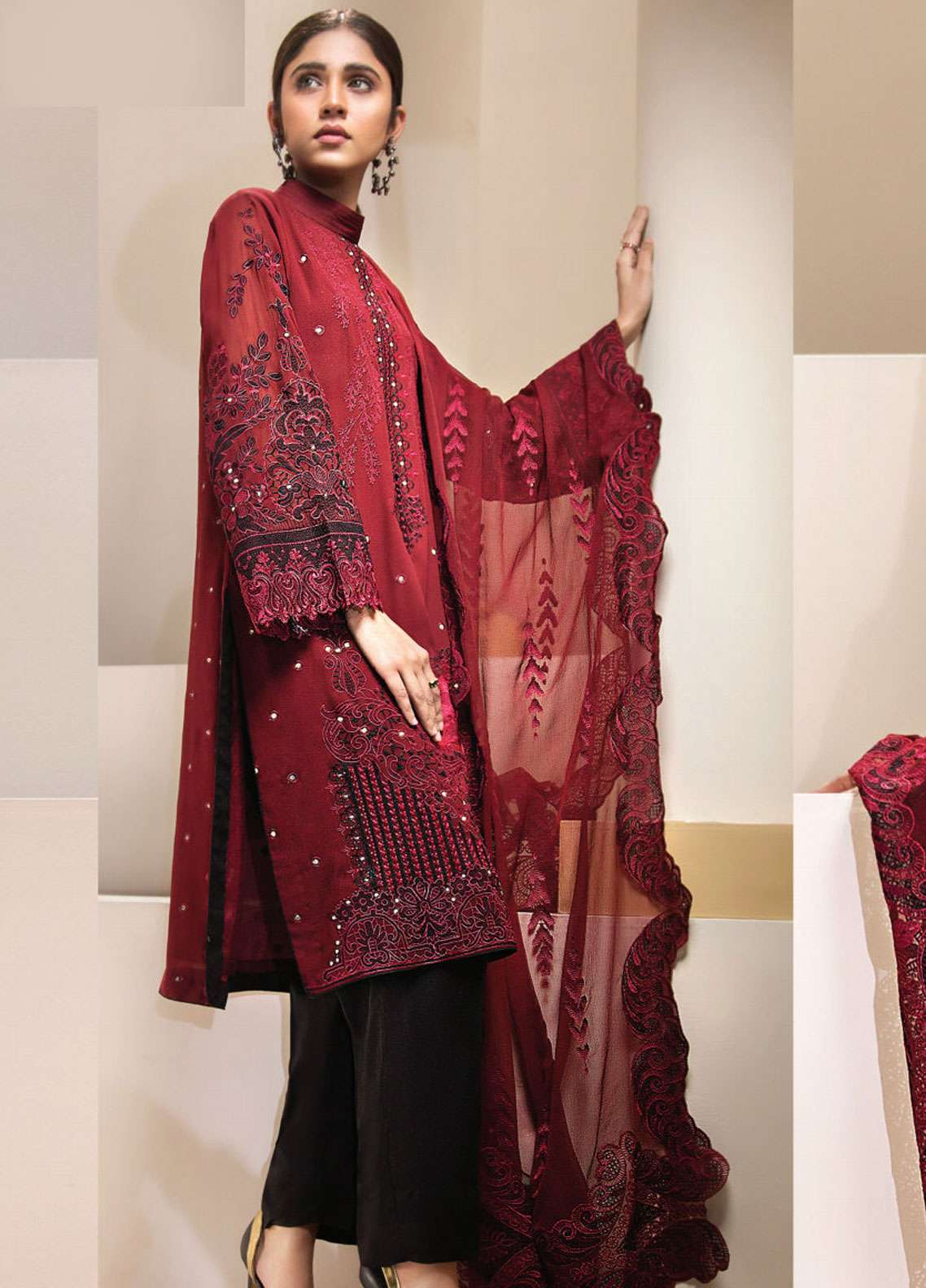 Resham Ghar Embroidered Chiffon Unstitched 3 Piece Suit RGC19LC 01 - Luxury Collection