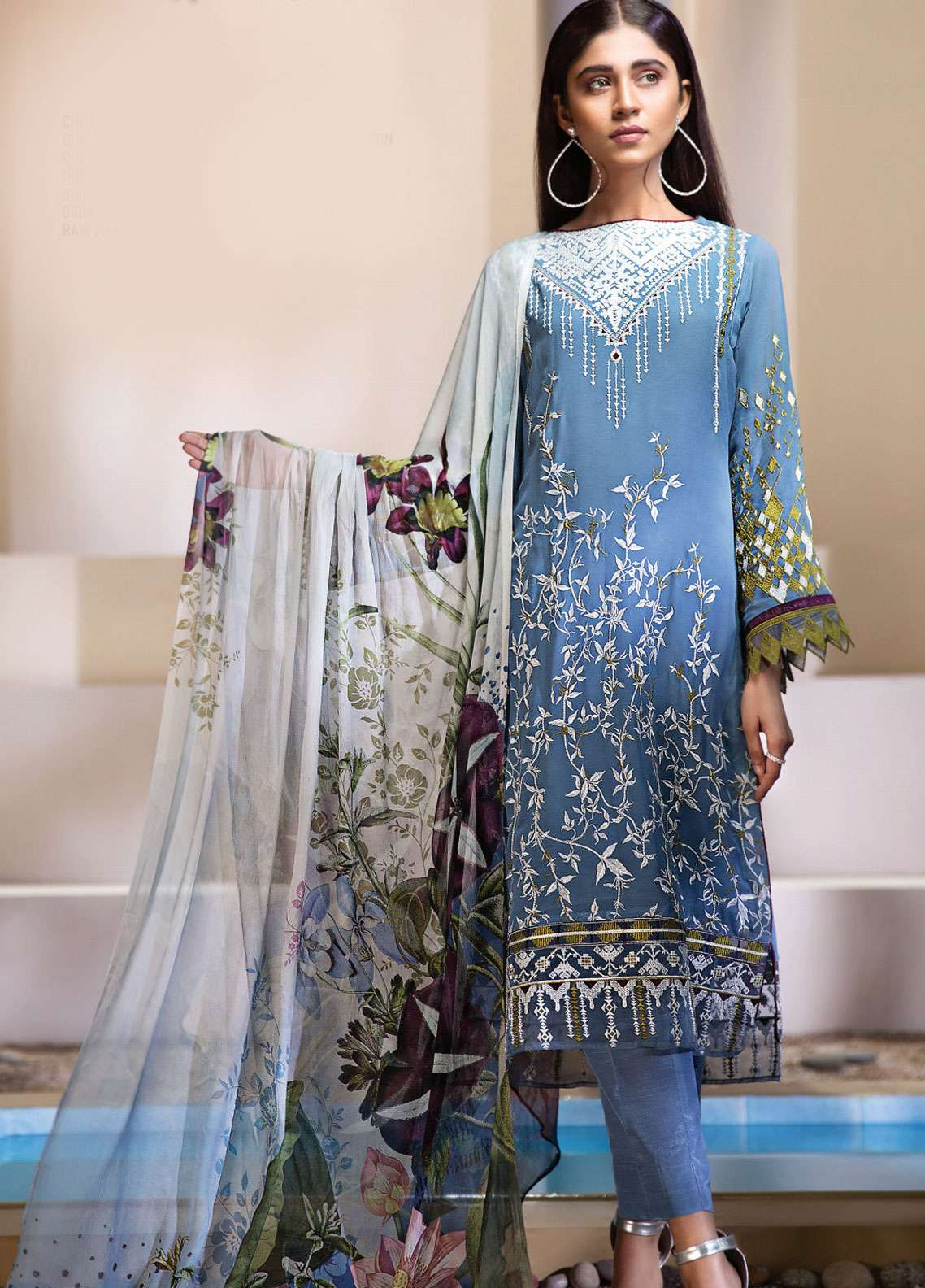 Resham Ghar Embroidered Chiffon Unstitched 3 Piece Suit RGC19LC 03 - Luxury Collection