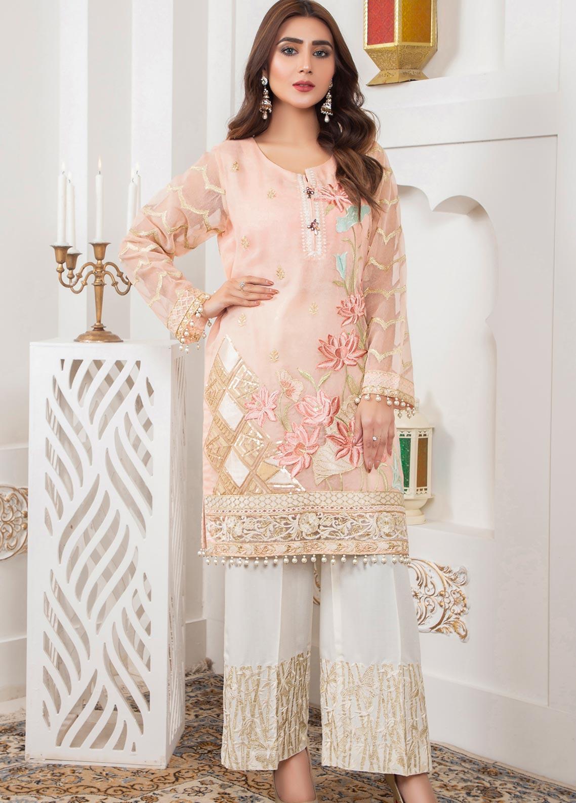 Lush Embroidered Khaadi Net Stitched Shirt 04 Naive Posy