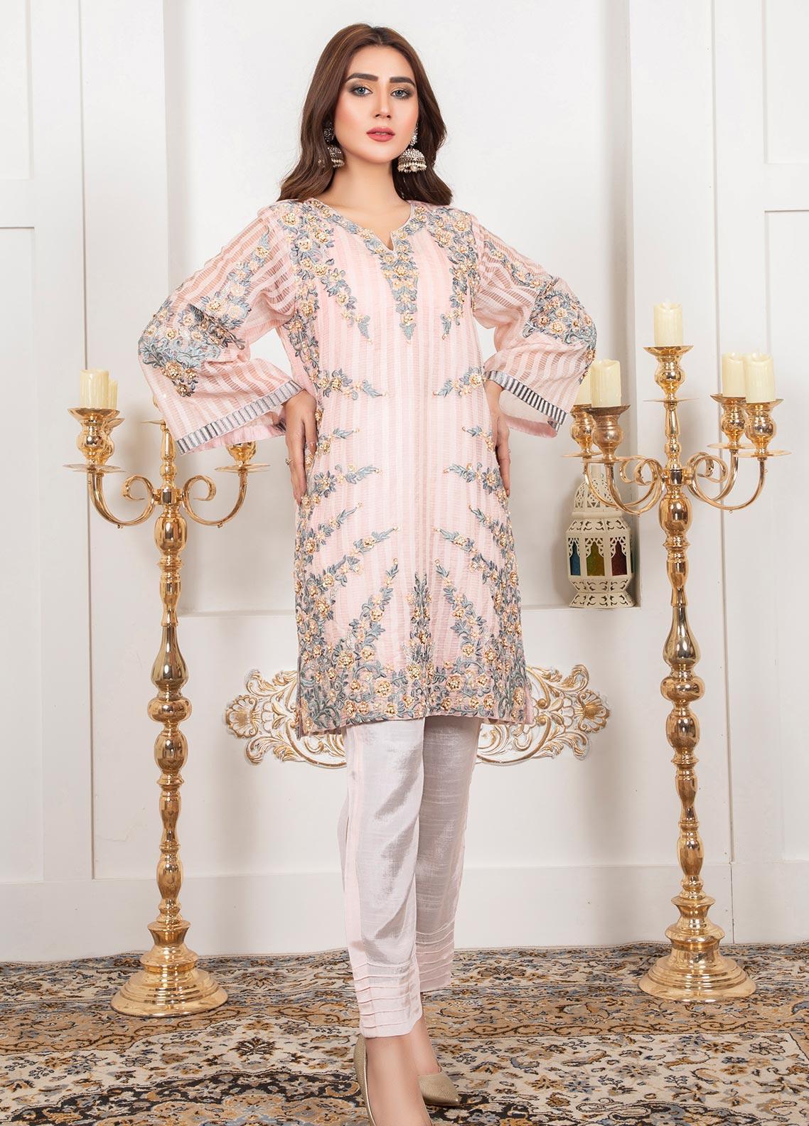 Lush Embroidered Organza Stitched Shirt 07 Flamingo