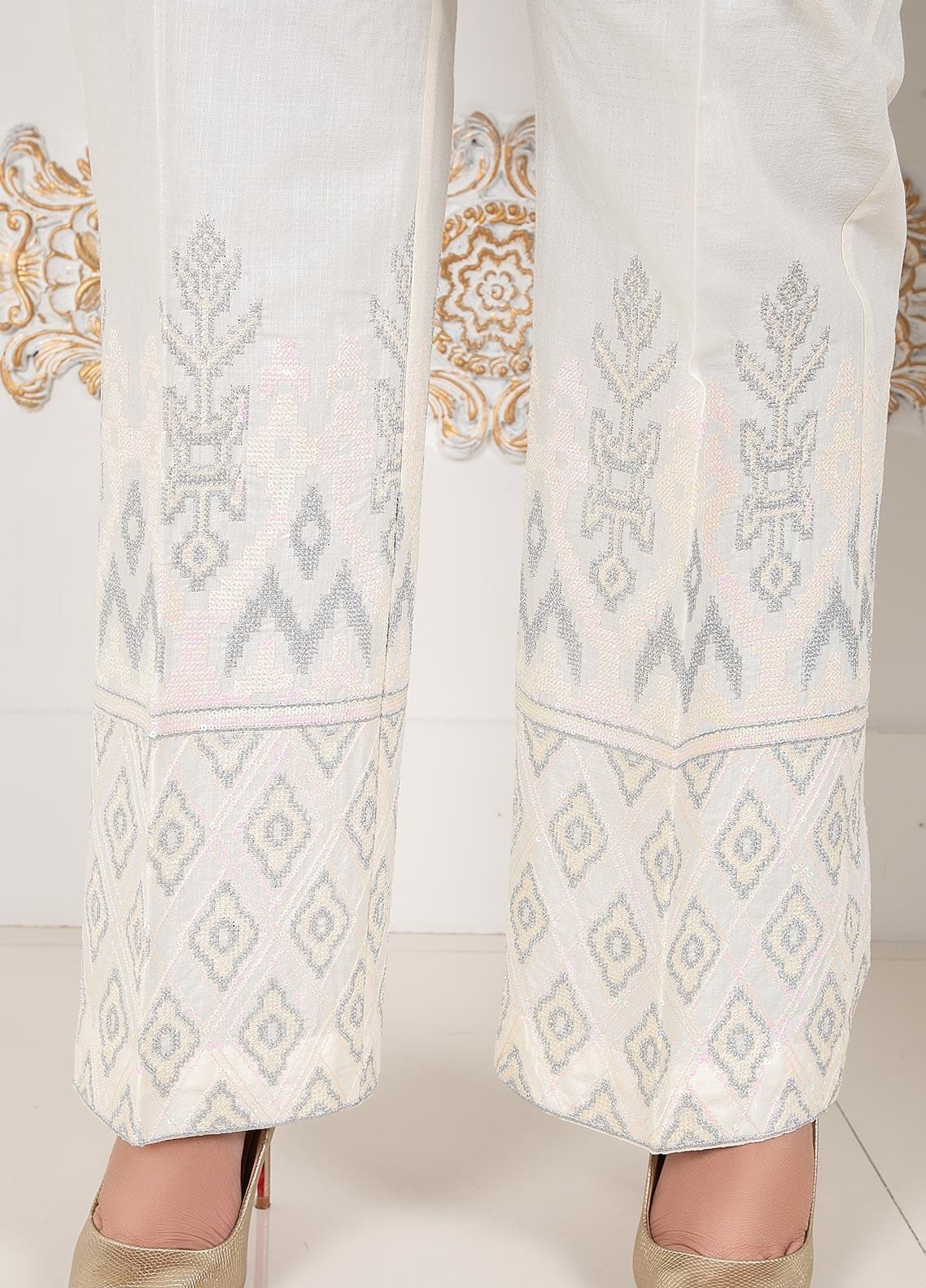 Lush Embroidered Cotton Stitched Trousers Boot Cut White