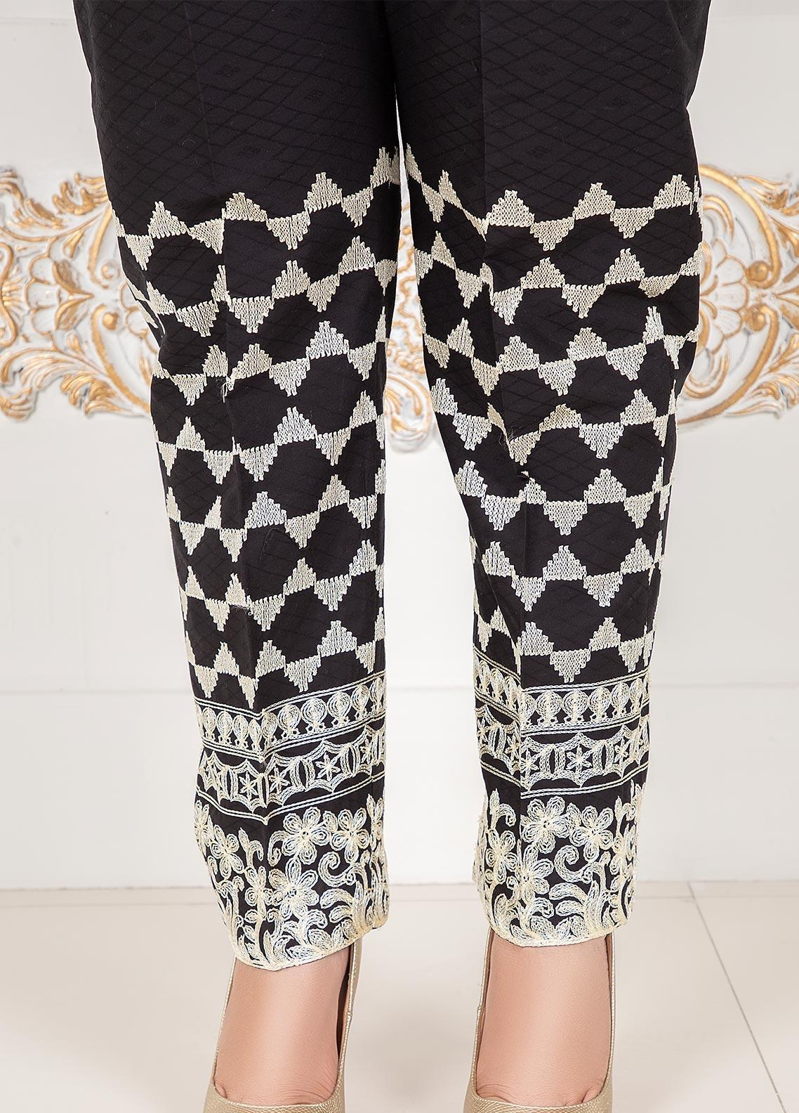 Lush Embroidered Cotton Stitched Trousers Ciggret Pants