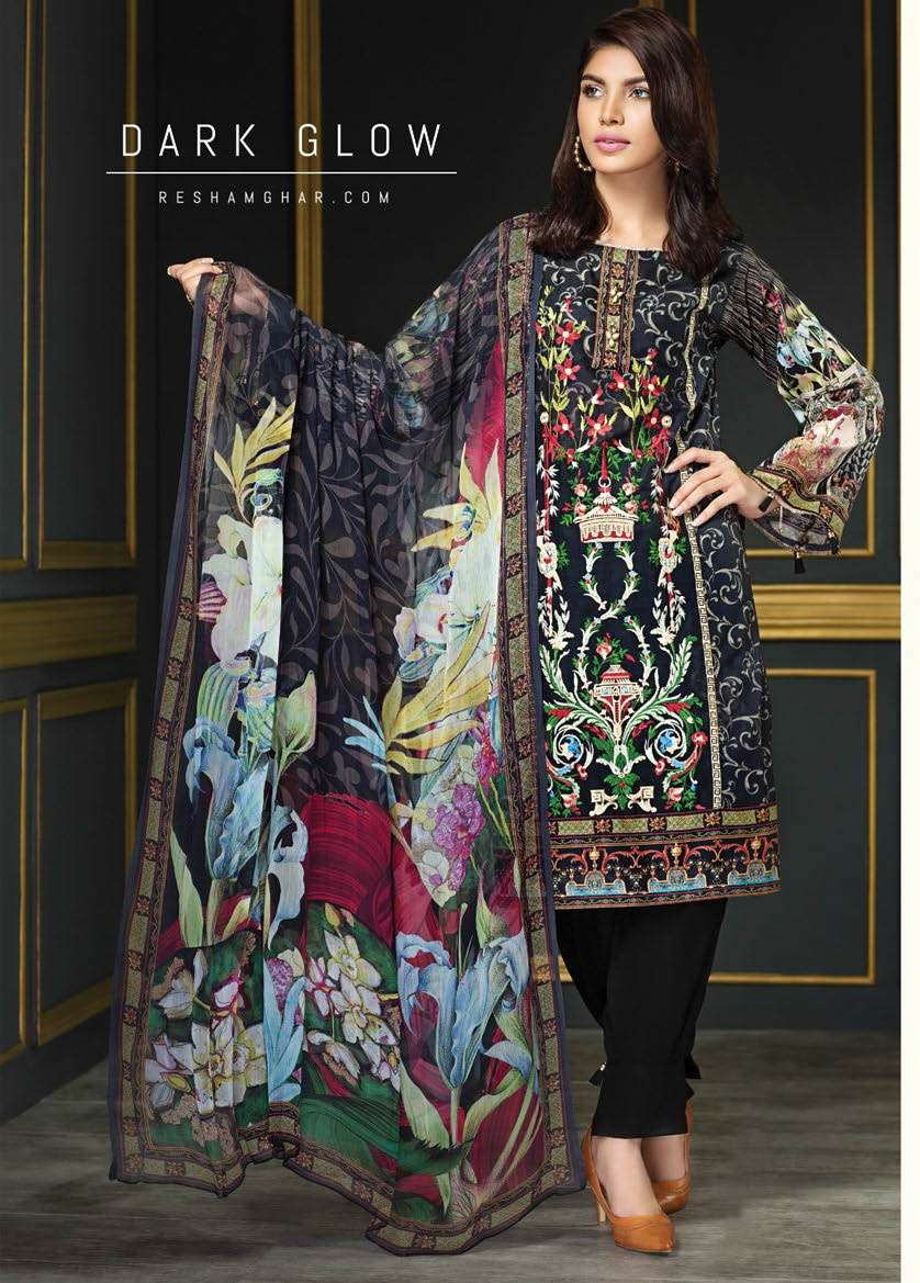 Resham Ghar Embroidered Lawn Unstitched 3 Piece Suit RG17E2 03
